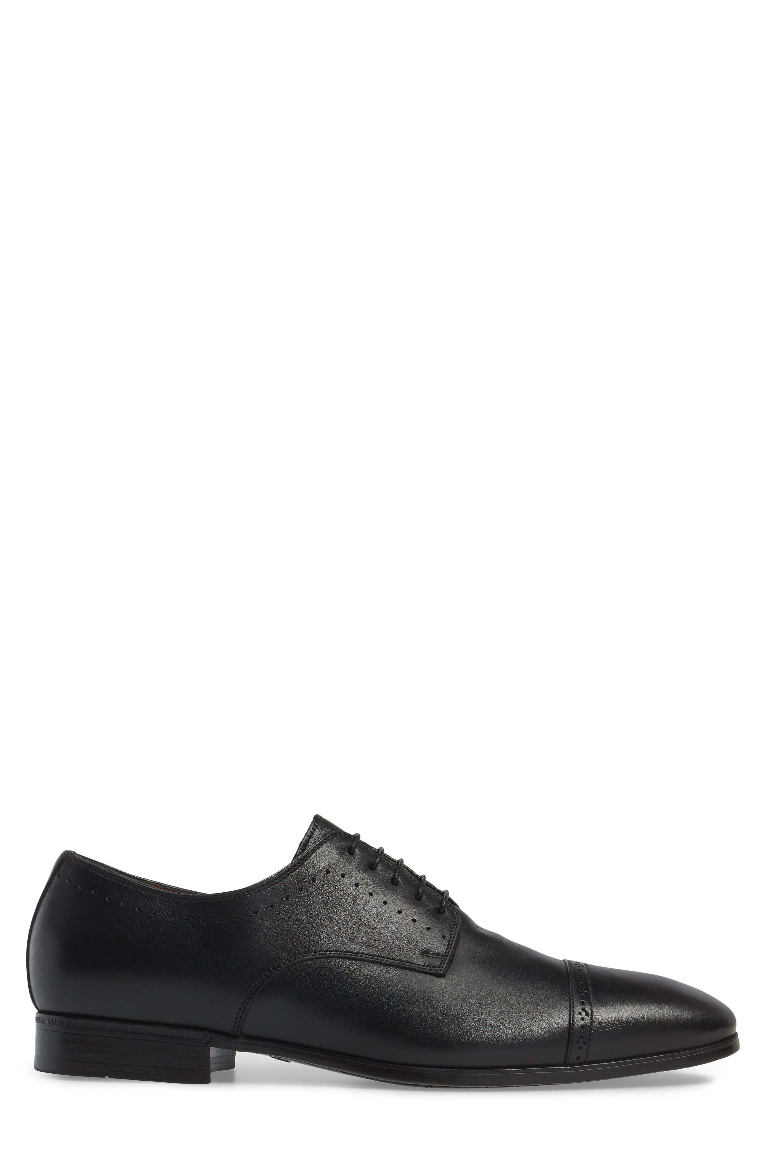 SANTONI, Gareth Cap Toe Derby, Alternate thumbnail 3, color, BLACK LEATHER