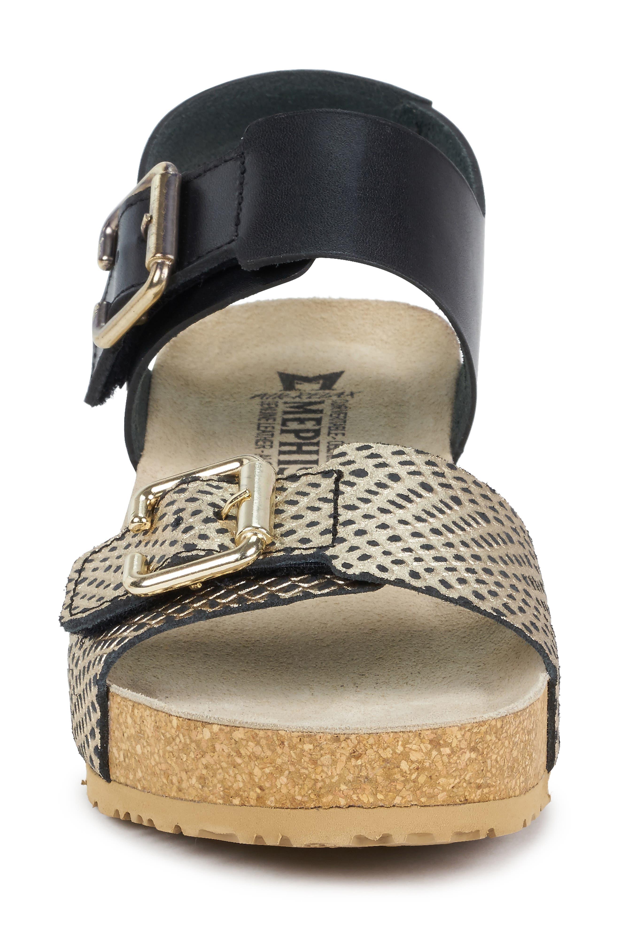 MEPHISTO, Lissandra Platform Wedge Sandal, Alternate thumbnail 4, color, BLACK/ GOLD LEATHER