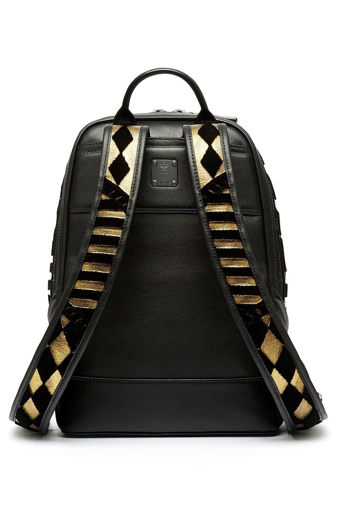 MCM, 'Duke Tapisserie' Goat Leather Backpack, Alternate thumbnail 2, color, 710