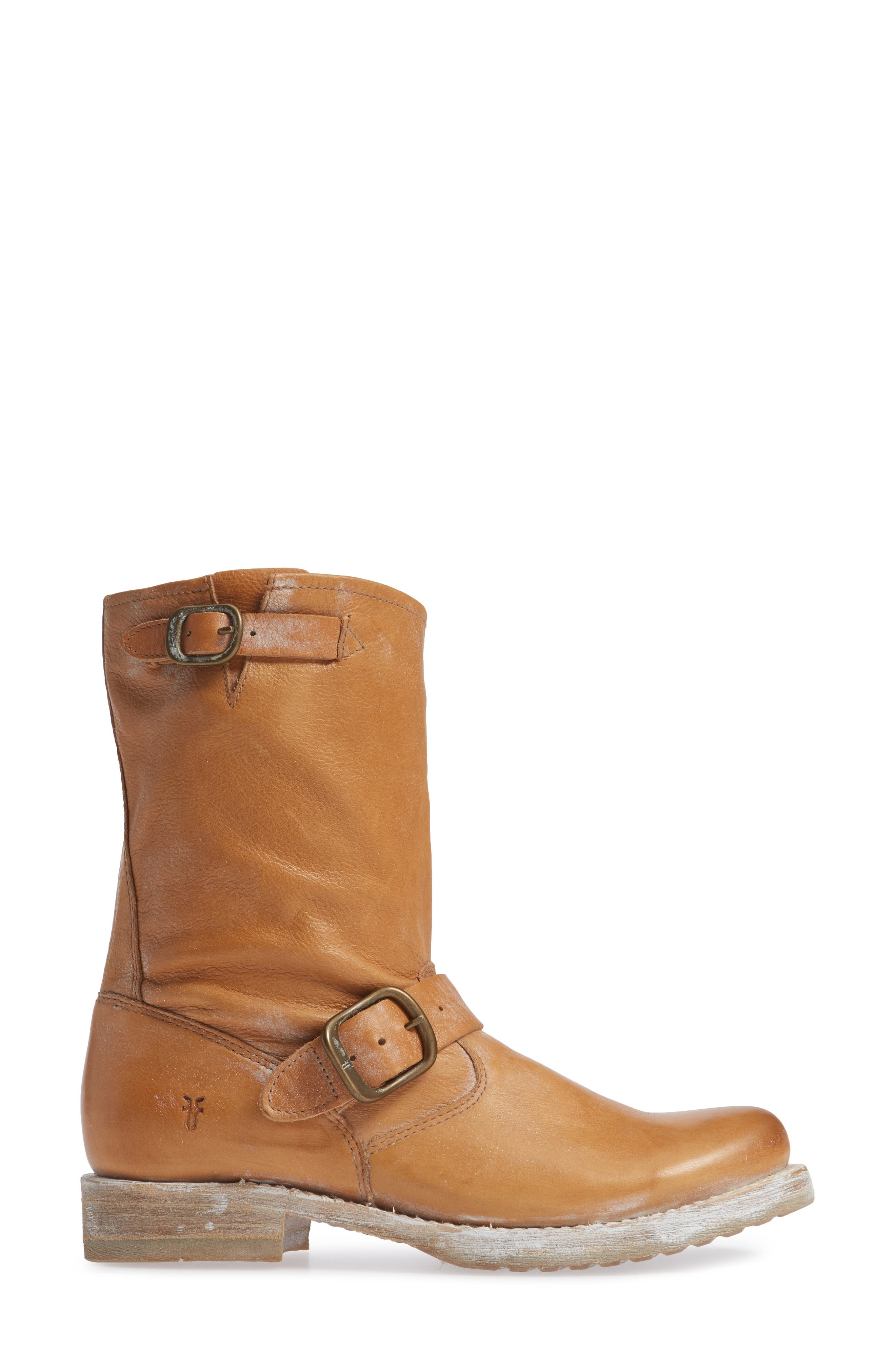 FRYE, 'Veronica Short' Slouchy Boot, Alternate thumbnail 3, color, TAN LEATHER