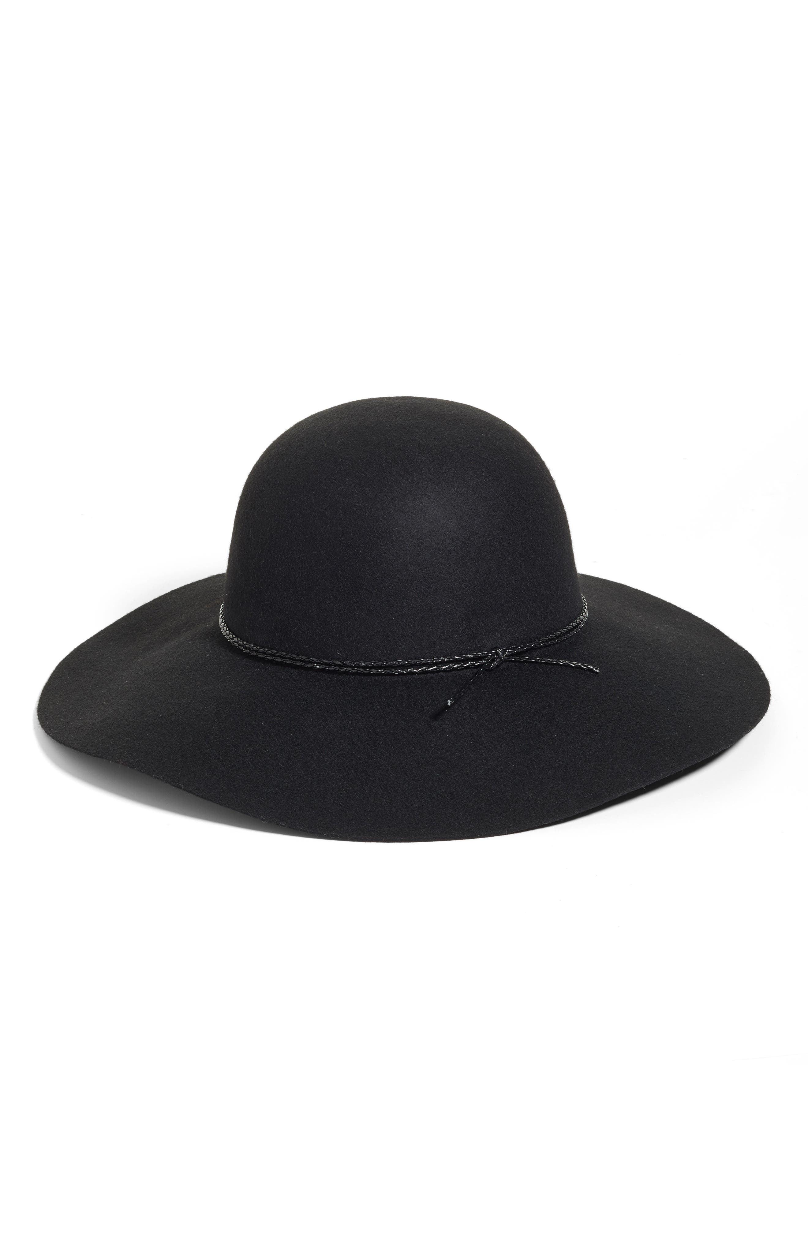 HALOGEN<SUP>®</SUP>, Wool Floppy Hat, Main thumbnail 1, color, 001