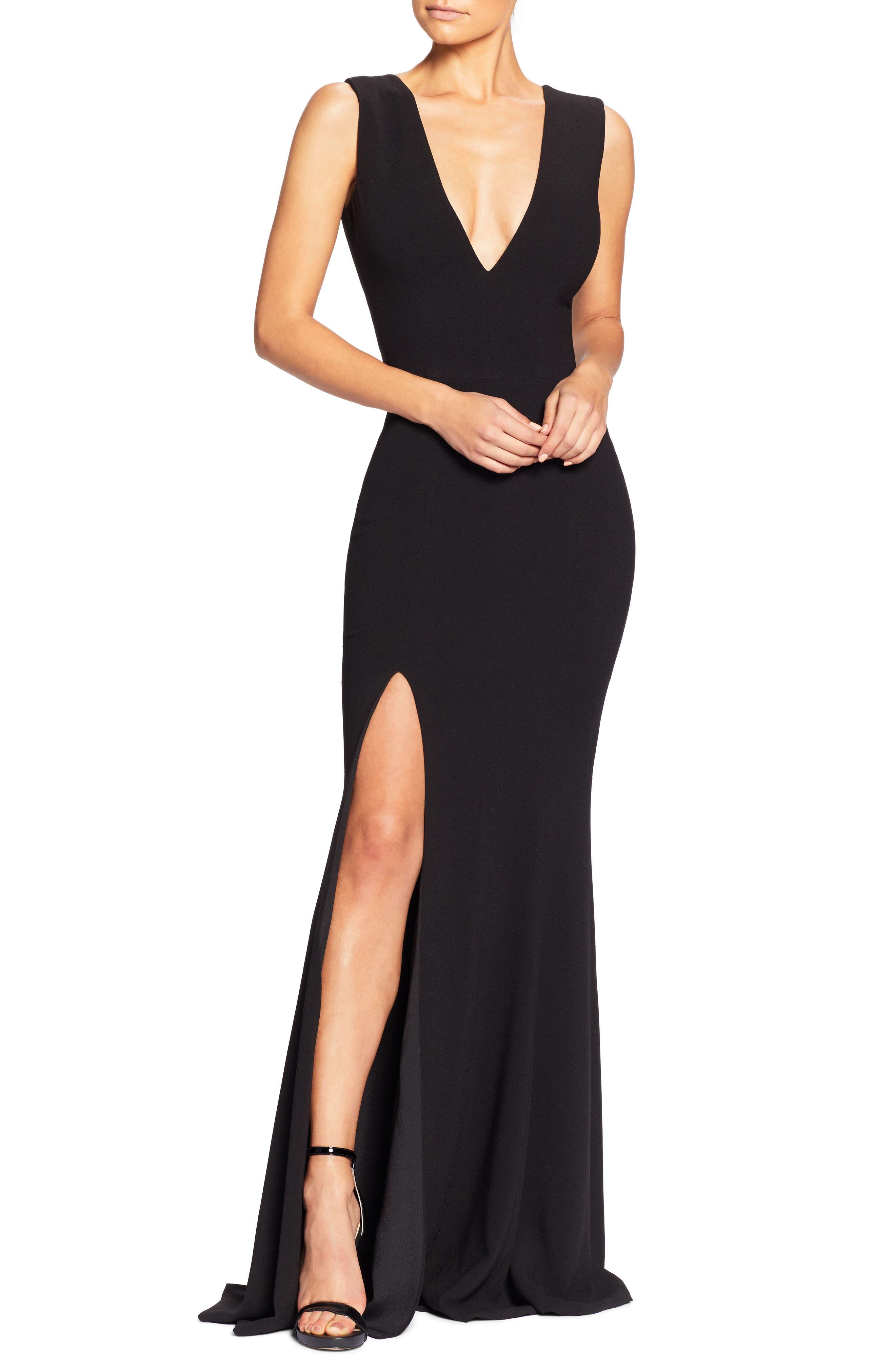 Dress The Population Sandra Plunge Crepe Trumpet Gown, Black