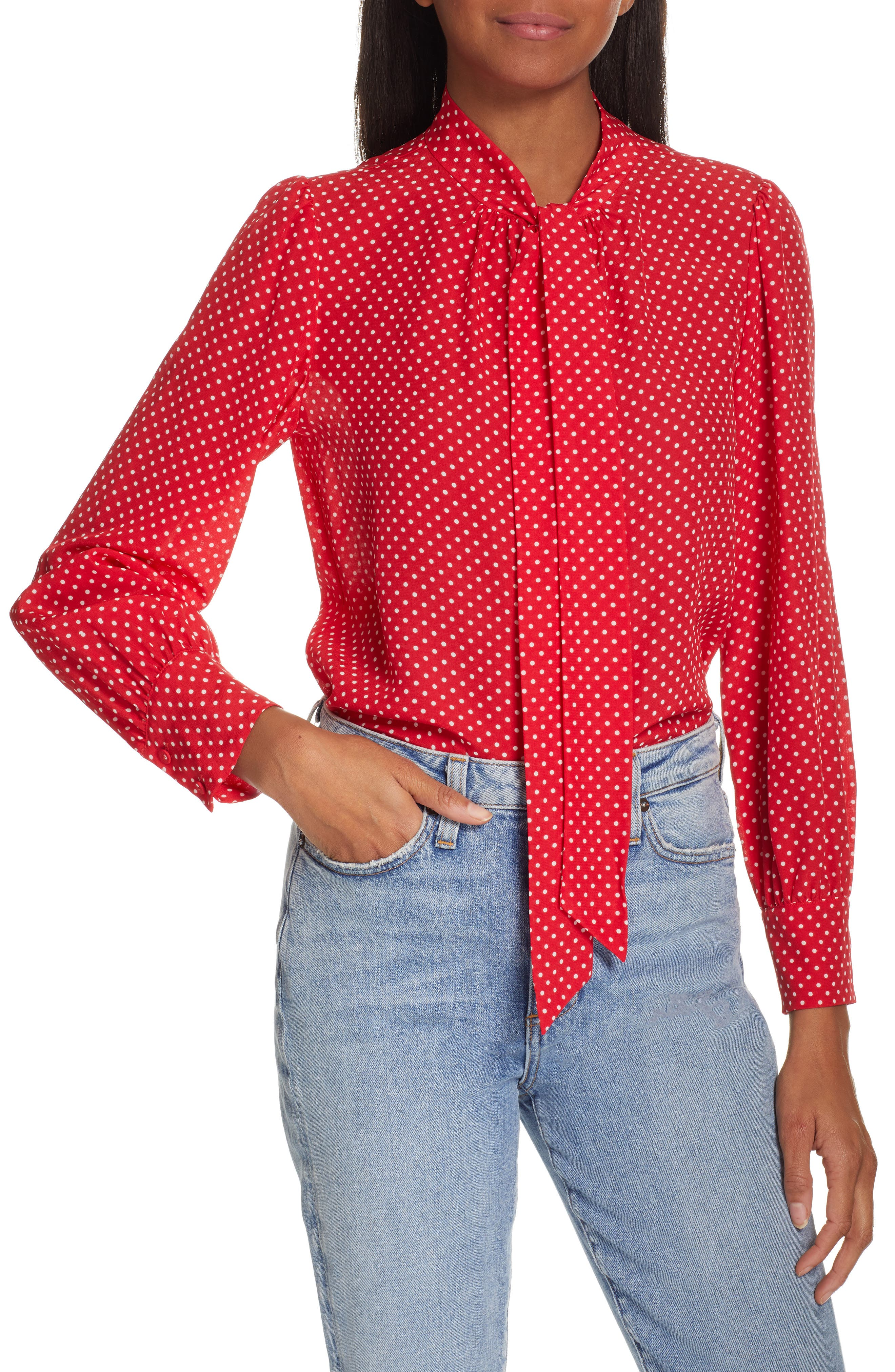 REBECCA TAYLOR Dot Print Scarf Tie Silk Blouse, Main, color, 600