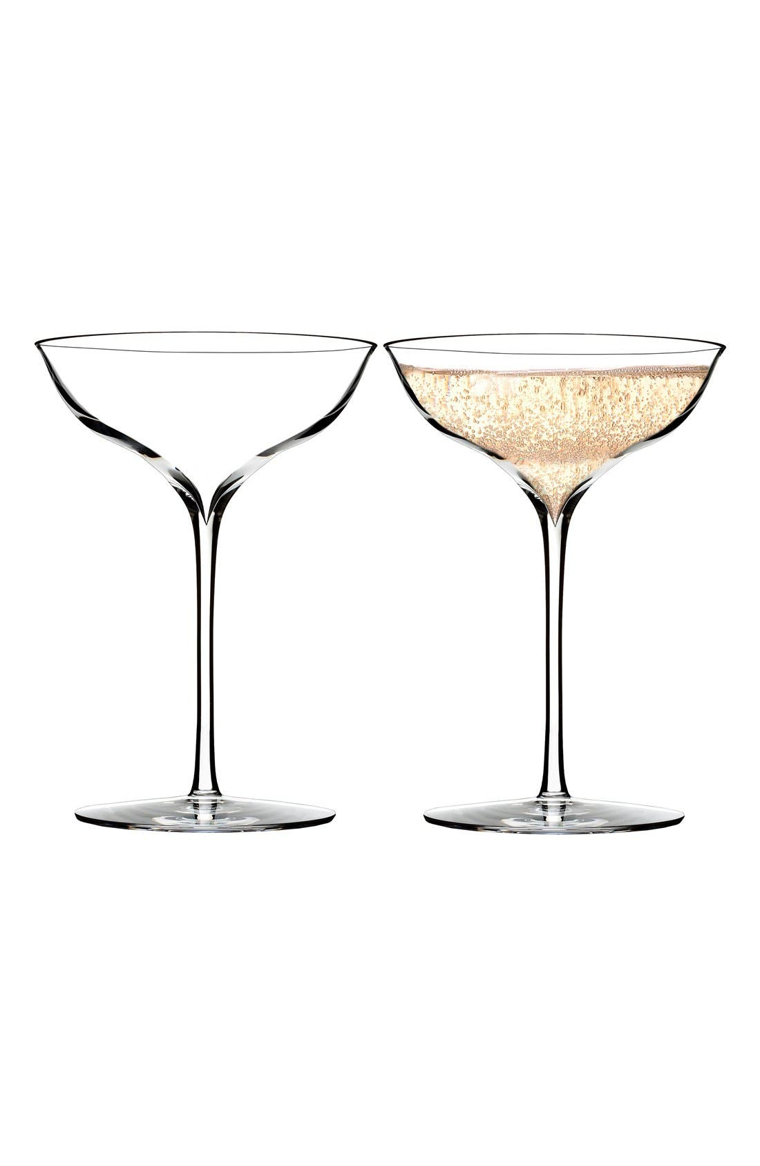 WATERFORD, 'Elegance' Fine Crystal Champagne Coupe Toasting Glasses, Alternate thumbnail 2, color, CLEAR