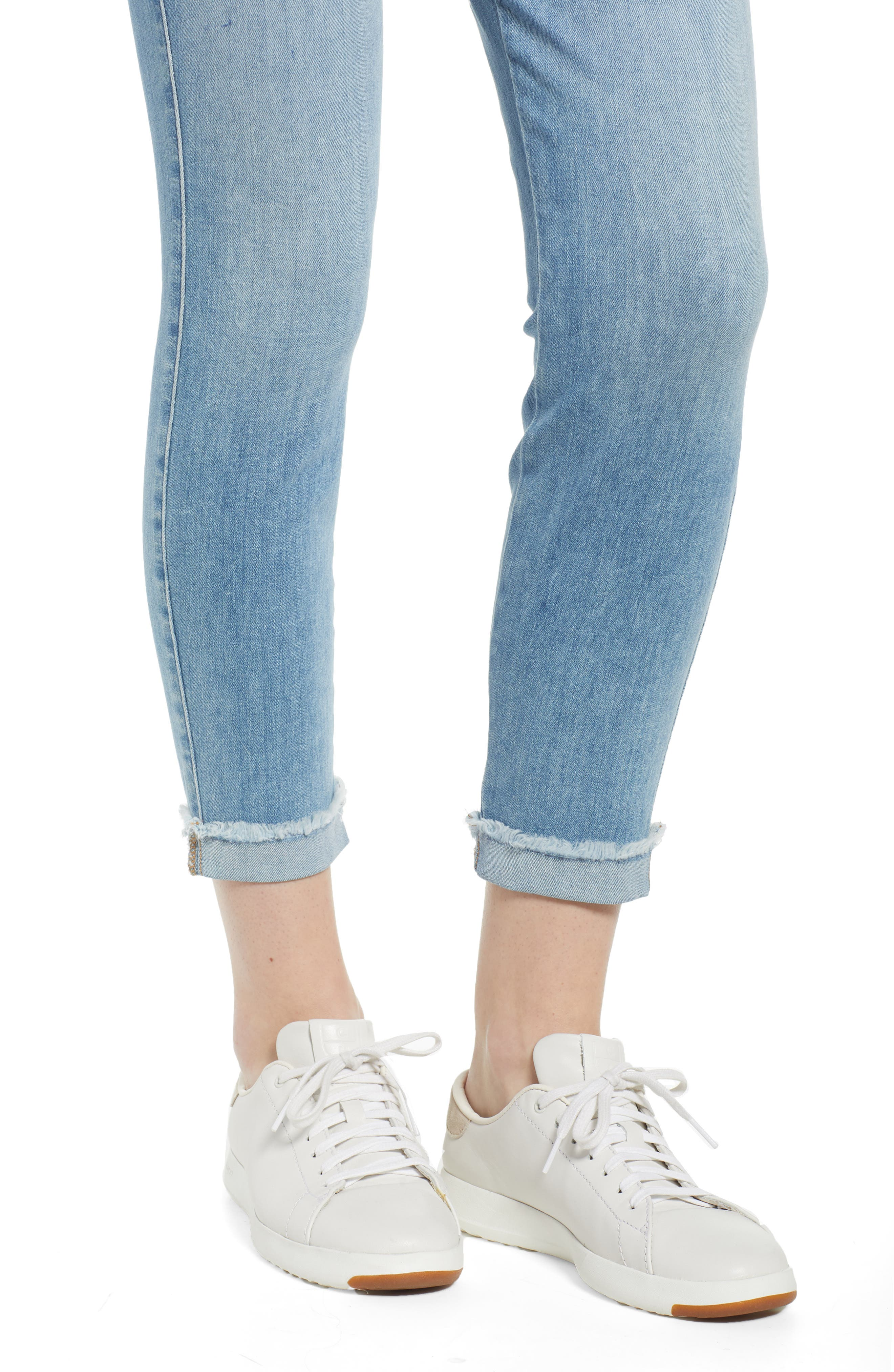 JEN7 BY 7 FOR ALL MANKIND, Cuffed Crop Skinny Jeans, Alternate thumbnail 5, color, LA QUINTA