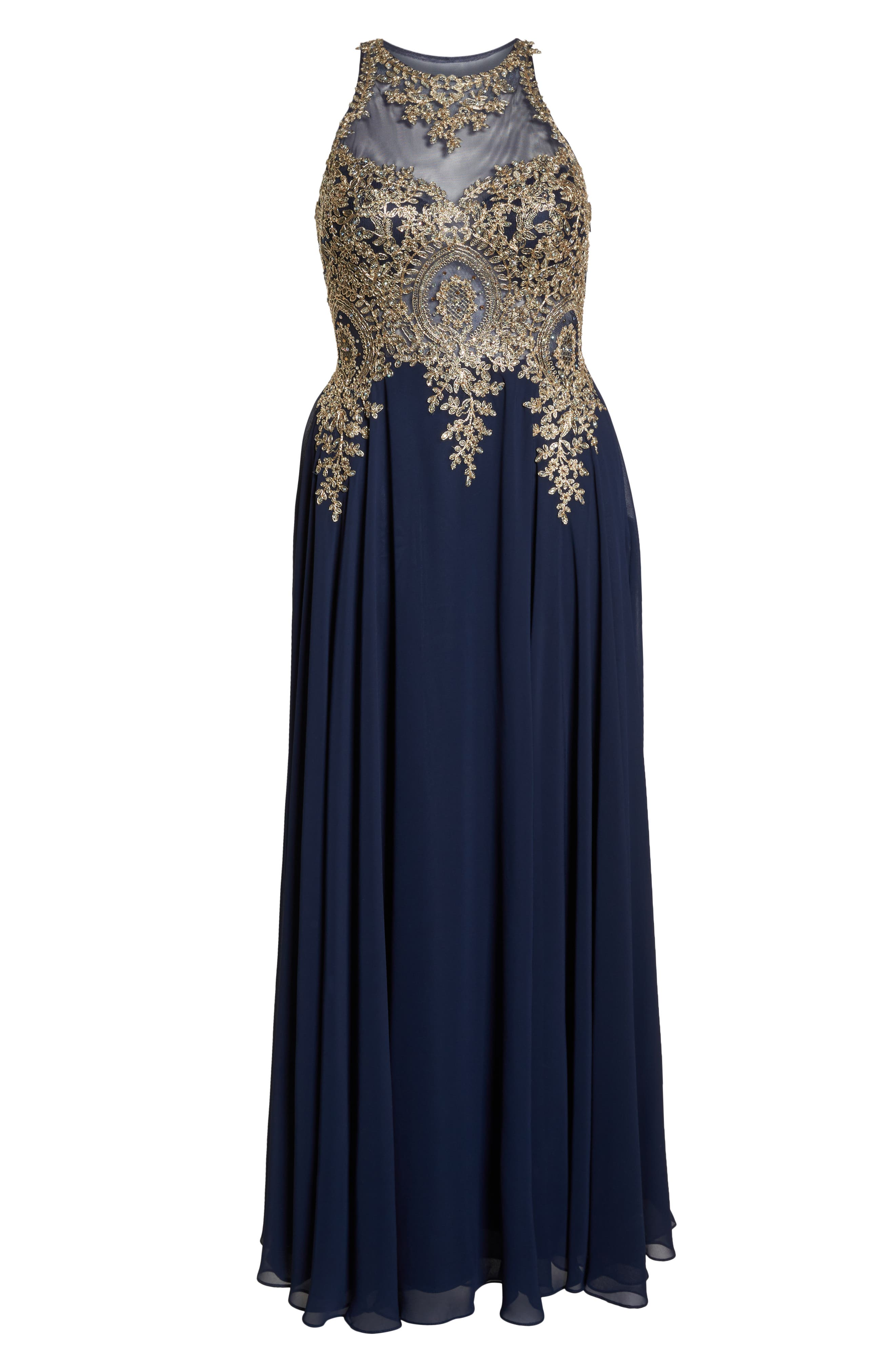 XSCAPE, Metallic Embroidered Gown, Alternate thumbnail 8, color, NAVY/ GOLD