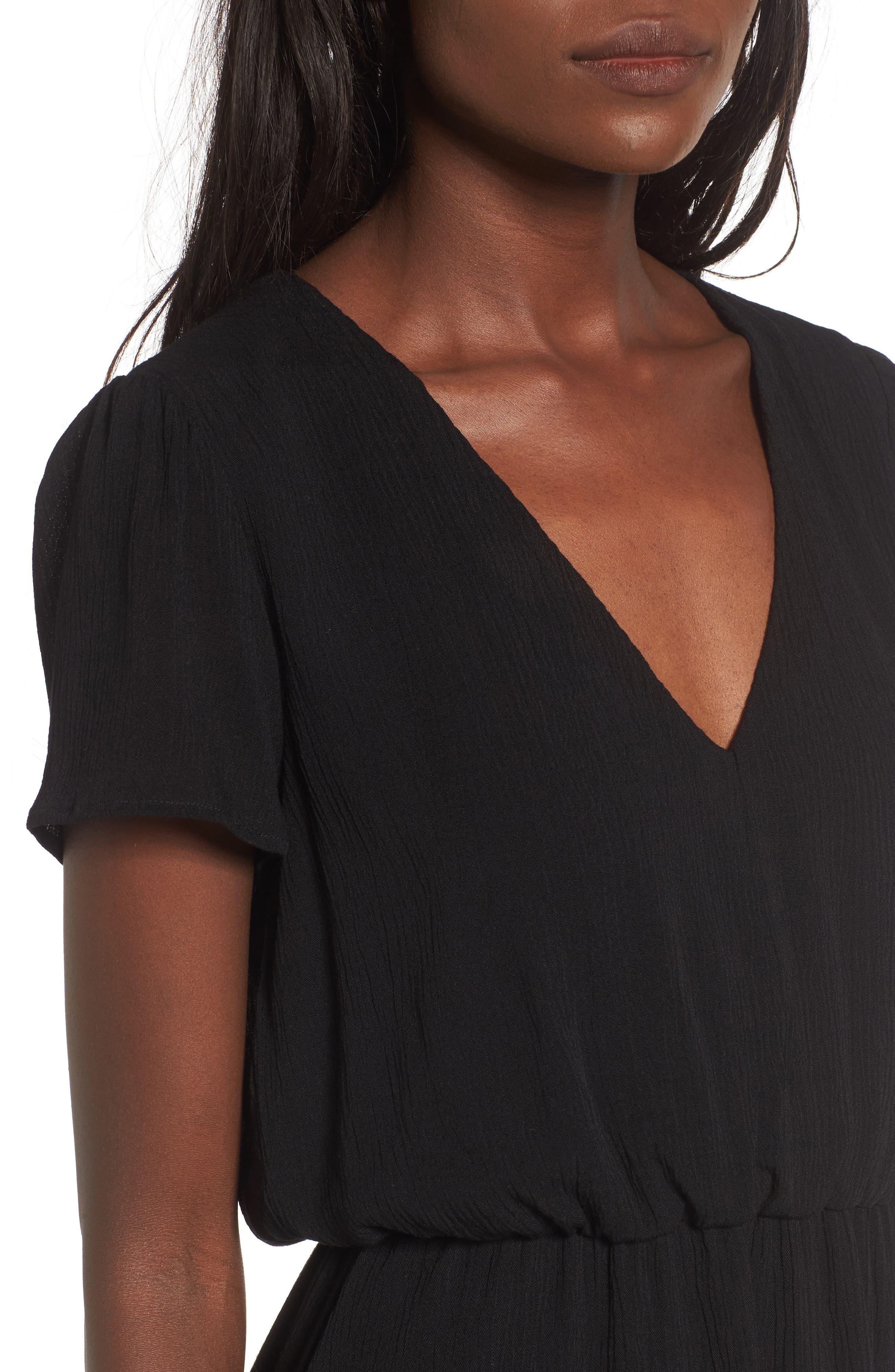 WAYF, Blouson Midi Dress, Alternate thumbnail 5, color, BLACK