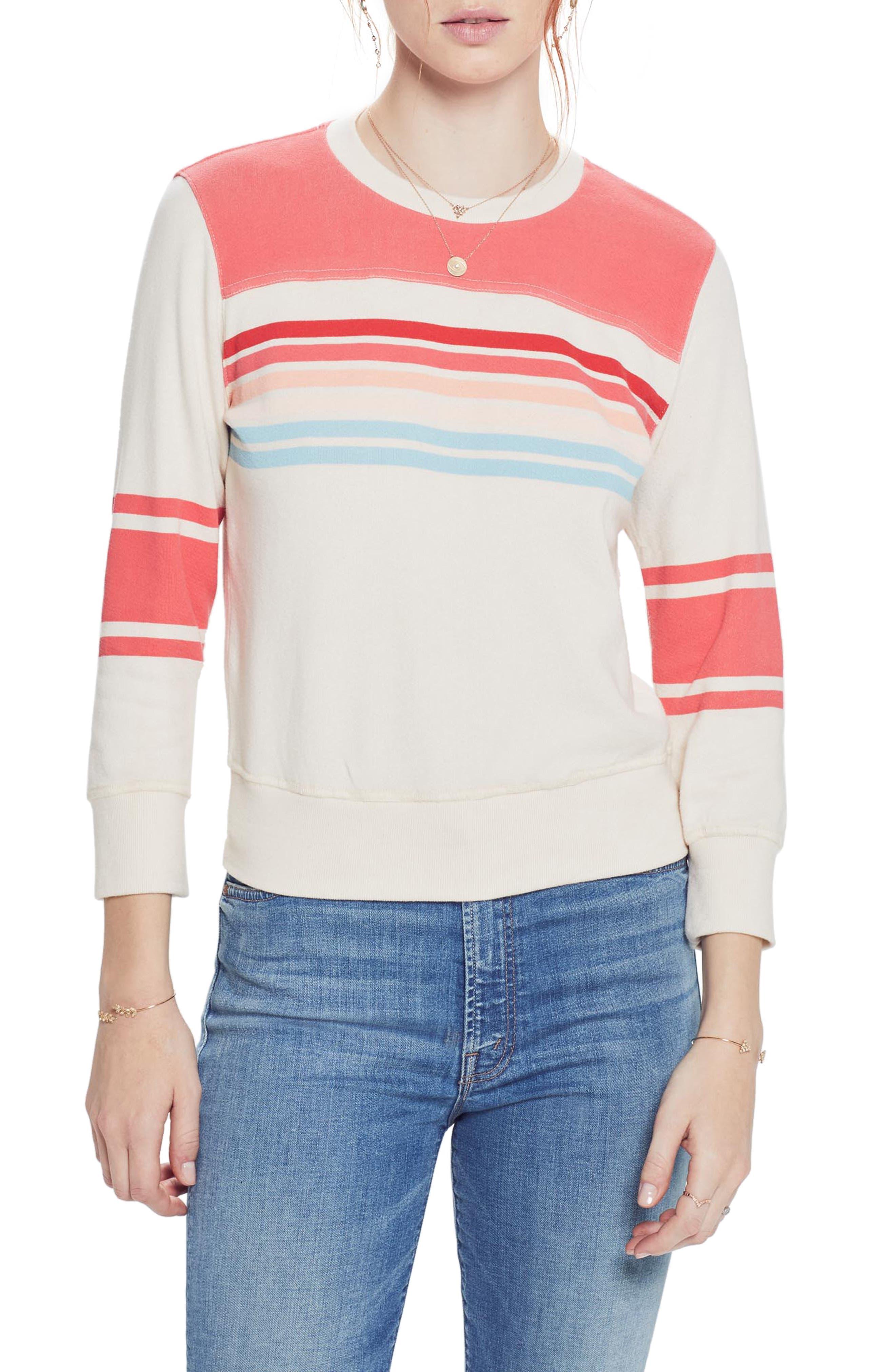 MOTHER 1/2 & 1/2 Sweatshirt, Main, color, STRAWBERRY