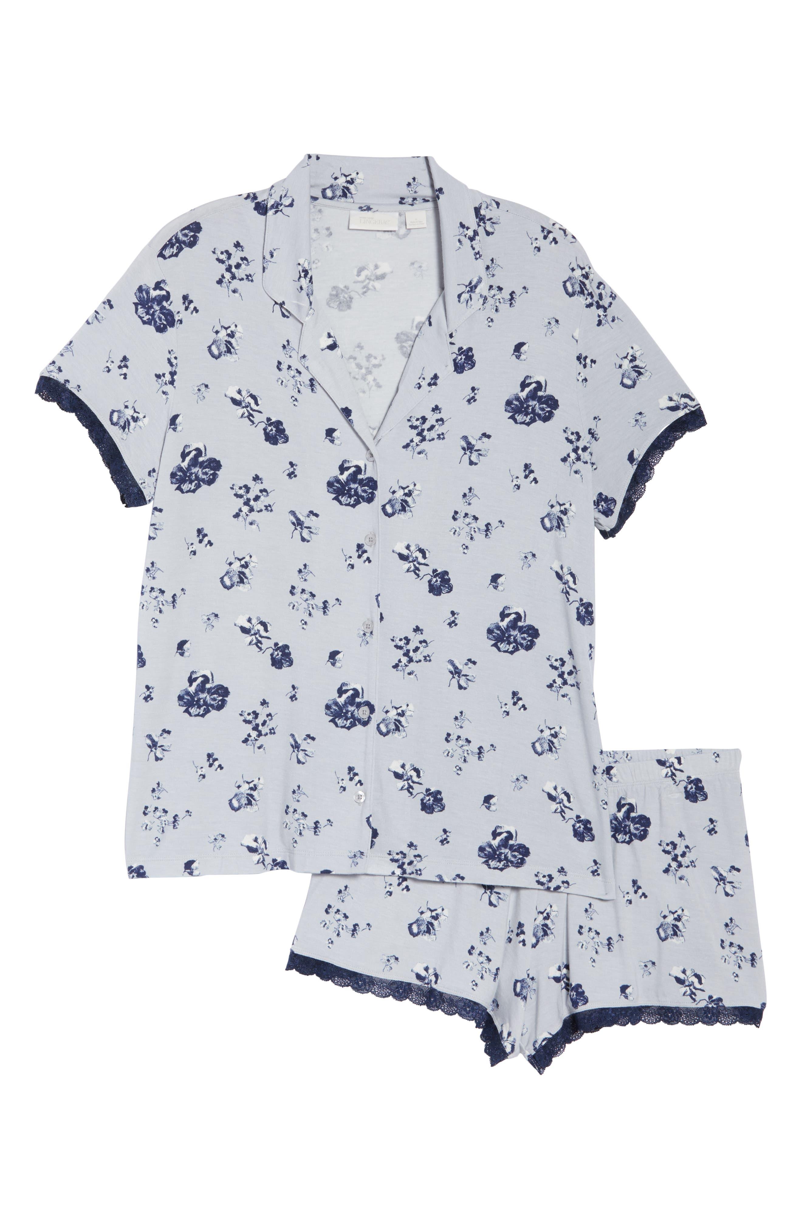 NORDSTROM LINGERIE, Moonlight Short Pajamas, Alternate thumbnail 6, color, GREY MICRO BLOOM