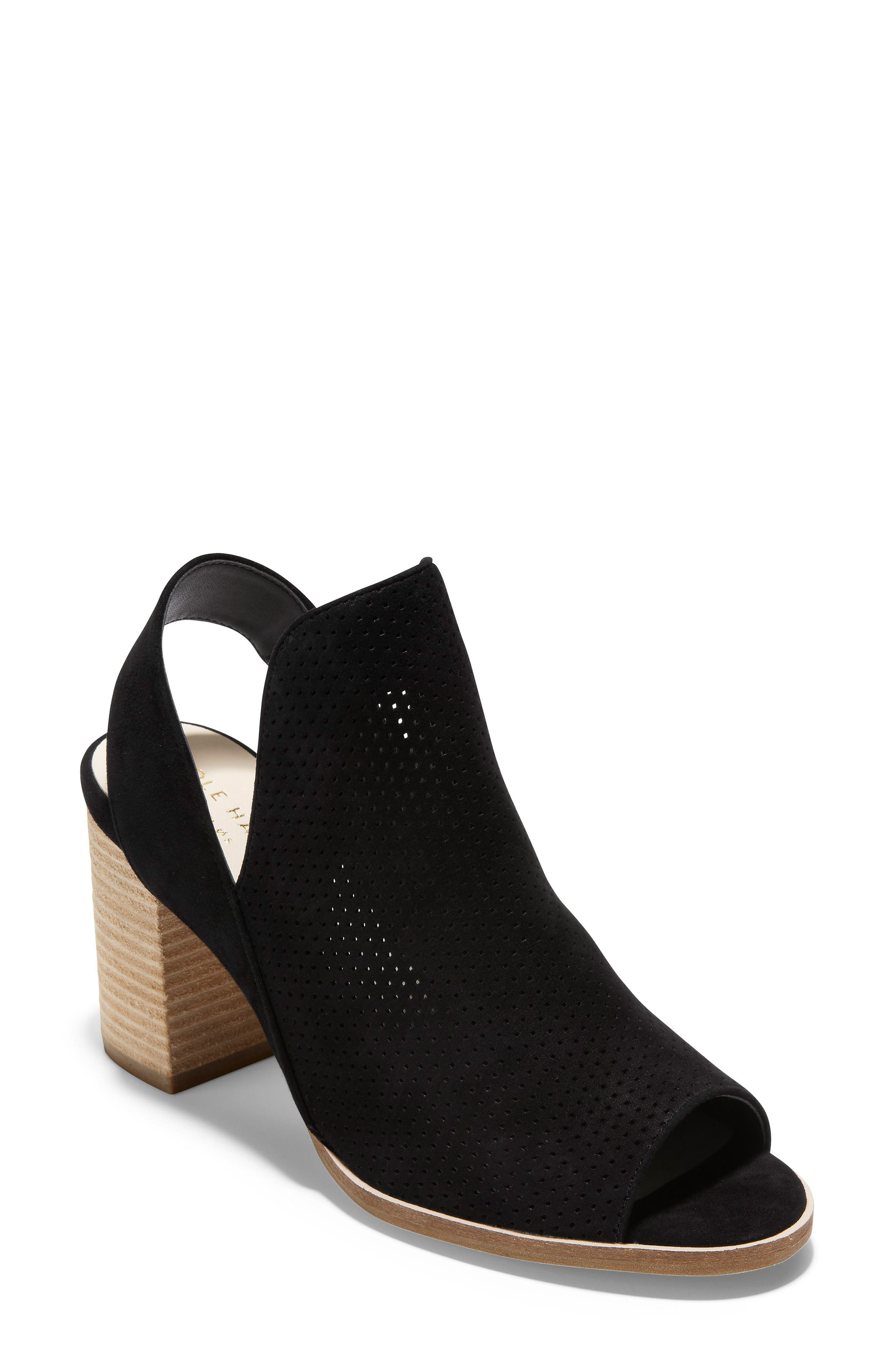 COLE HAAN, Callista Perforated Slingback Sandal, Main thumbnail 1, color, BLACK PERF SUEDE