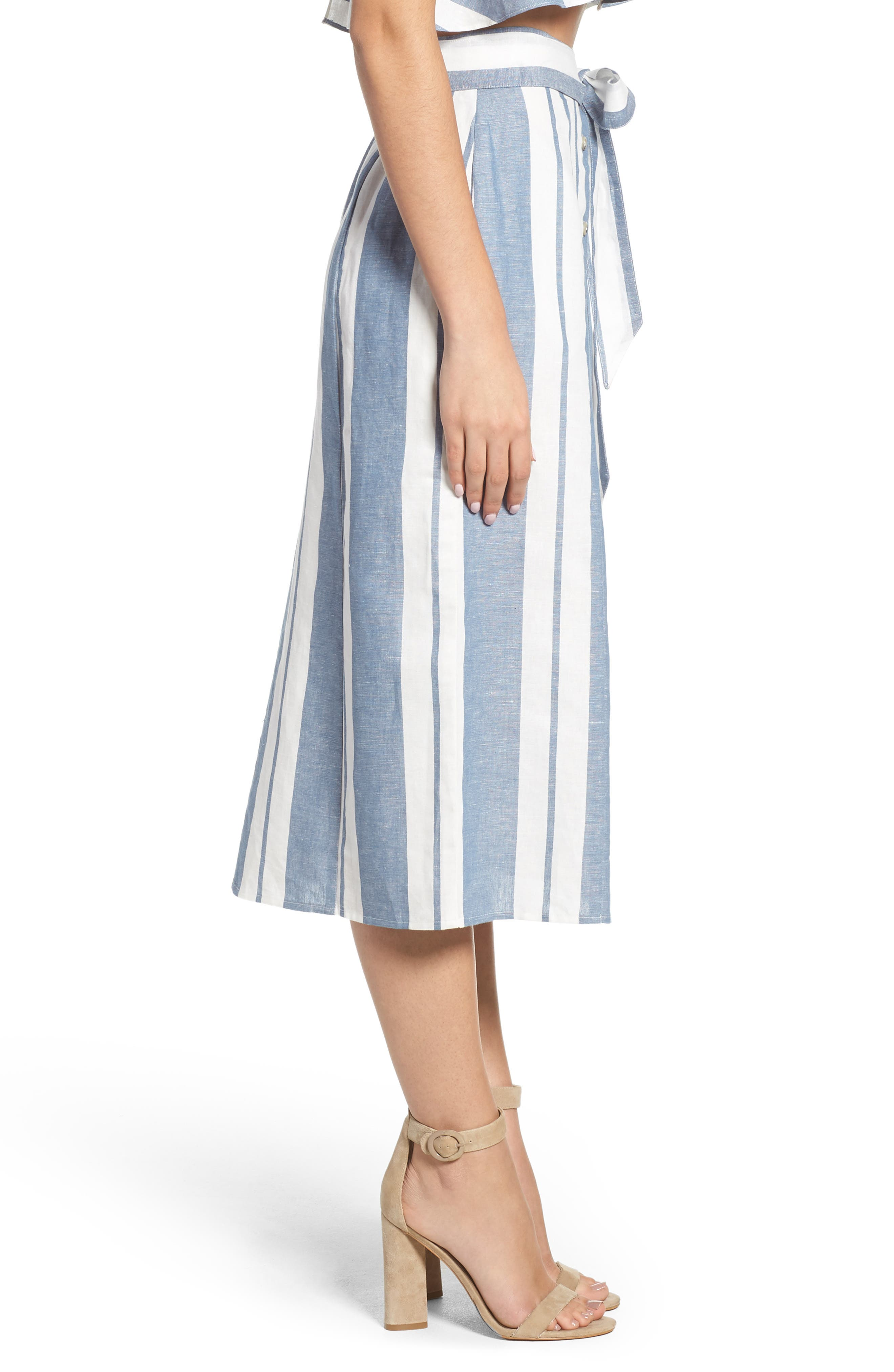 WAYF, Stripe Midi Skirt, Alternate thumbnail 3, color, 400