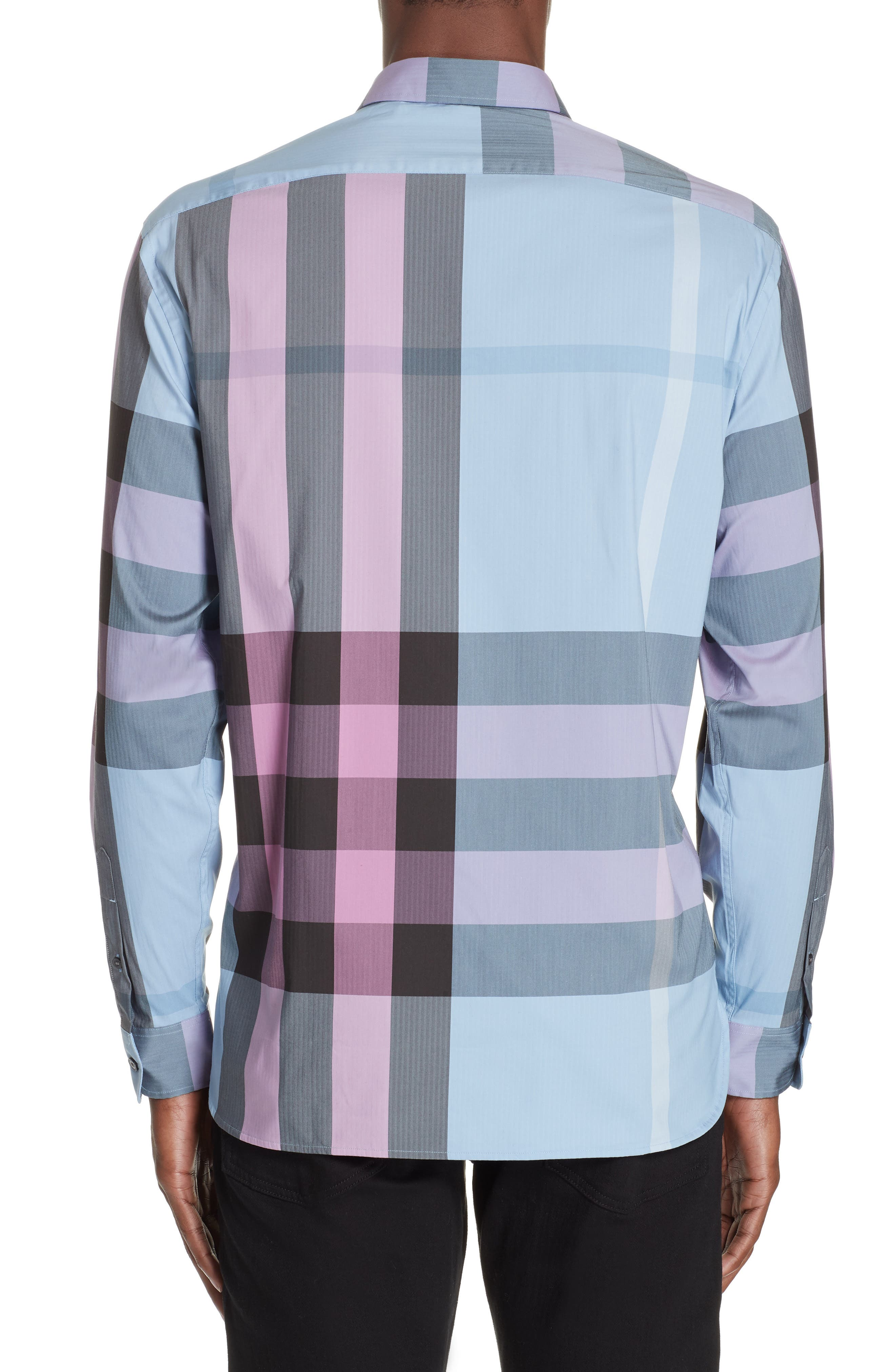 BURBERRY, Thornaby Slim Fit Check Sport Shirt, Alternate thumbnail 3, color, 400