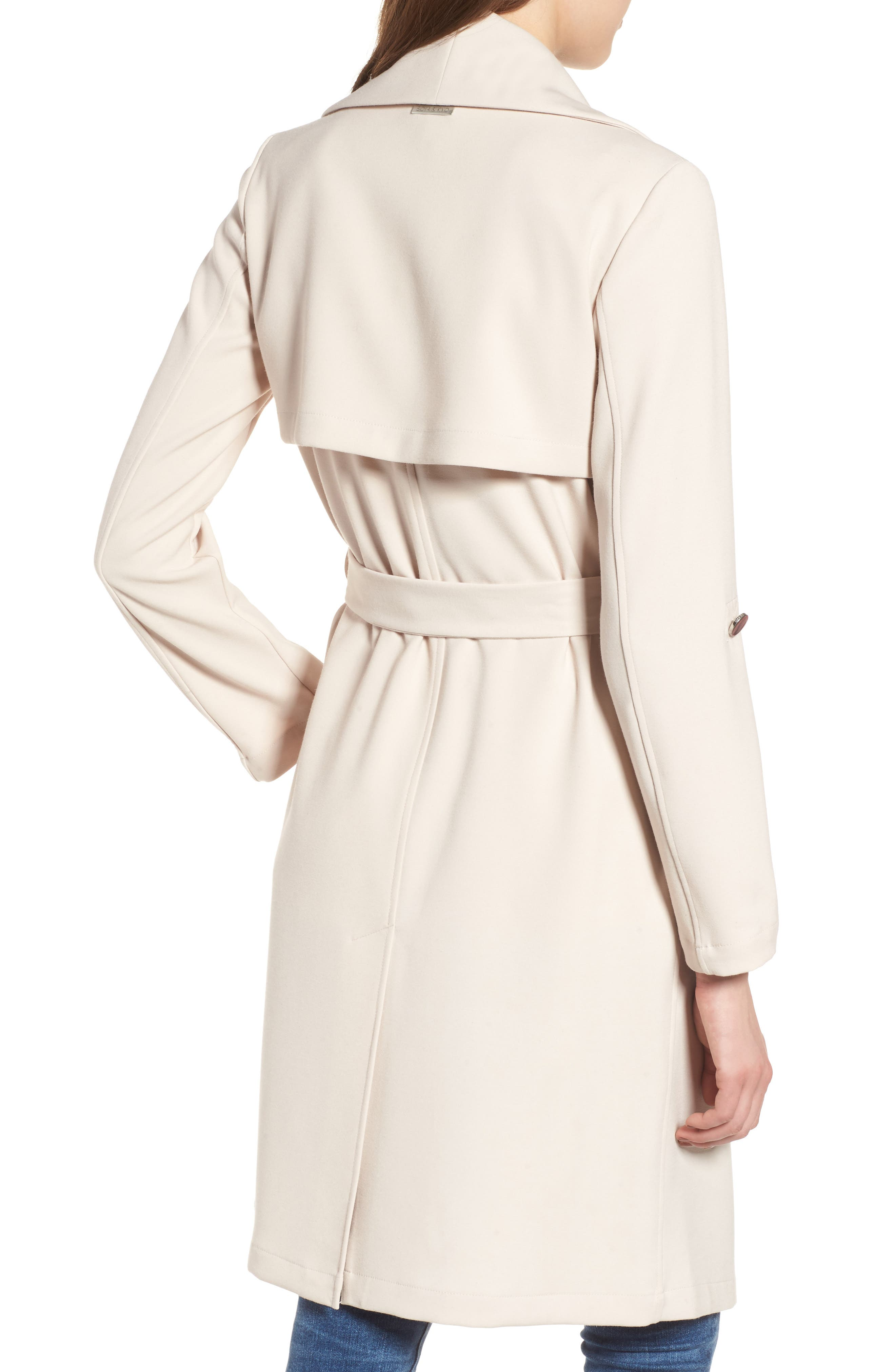 SOIA & KYO, Roll Sleeve Drape Front Long Trench Coat, Alternate thumbnail 2, color, 277