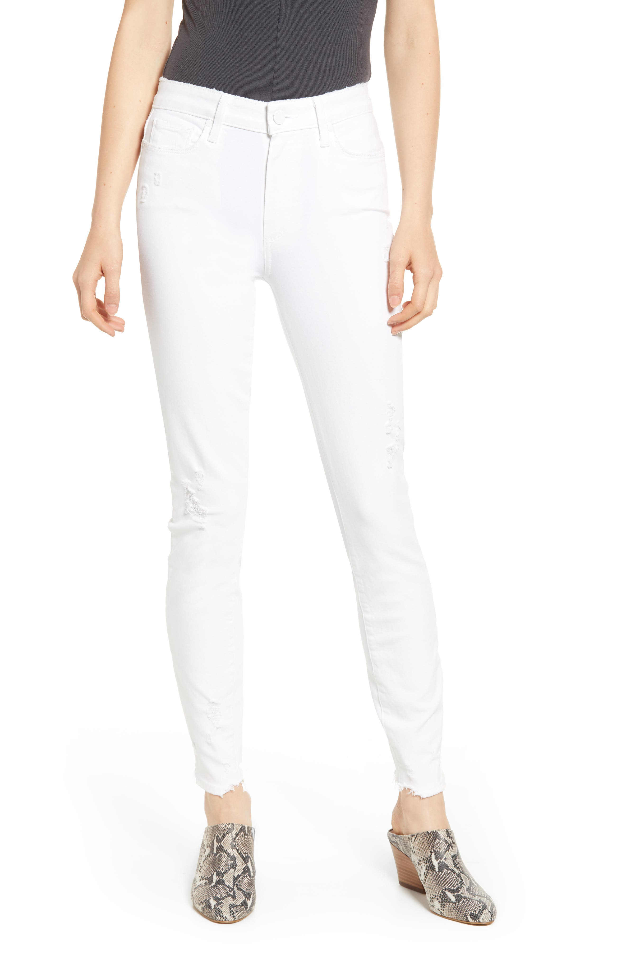 PAIGE, Hoxton High Waist Ankle Skinny Jeans, Main thumbnail 1, color, 100