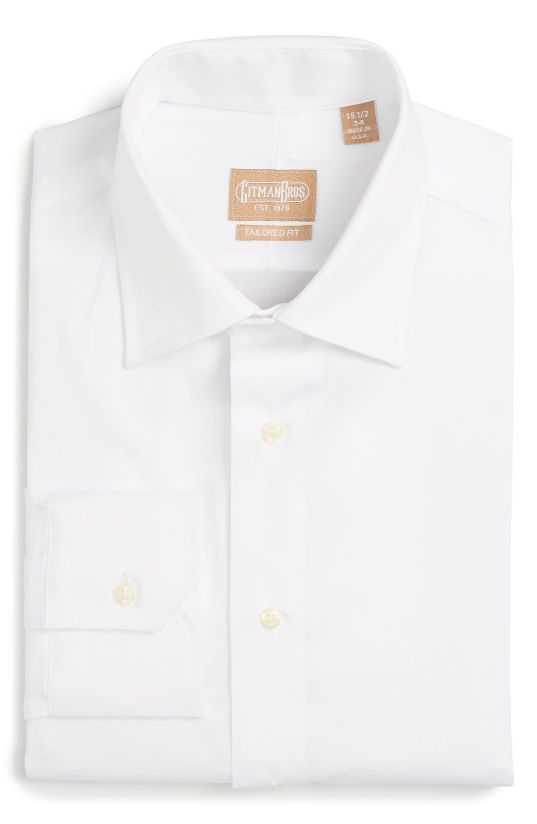 GITMAN, Tailored Fit Solid Dress Shirt, Main thumbnail 1, color, WHITE
