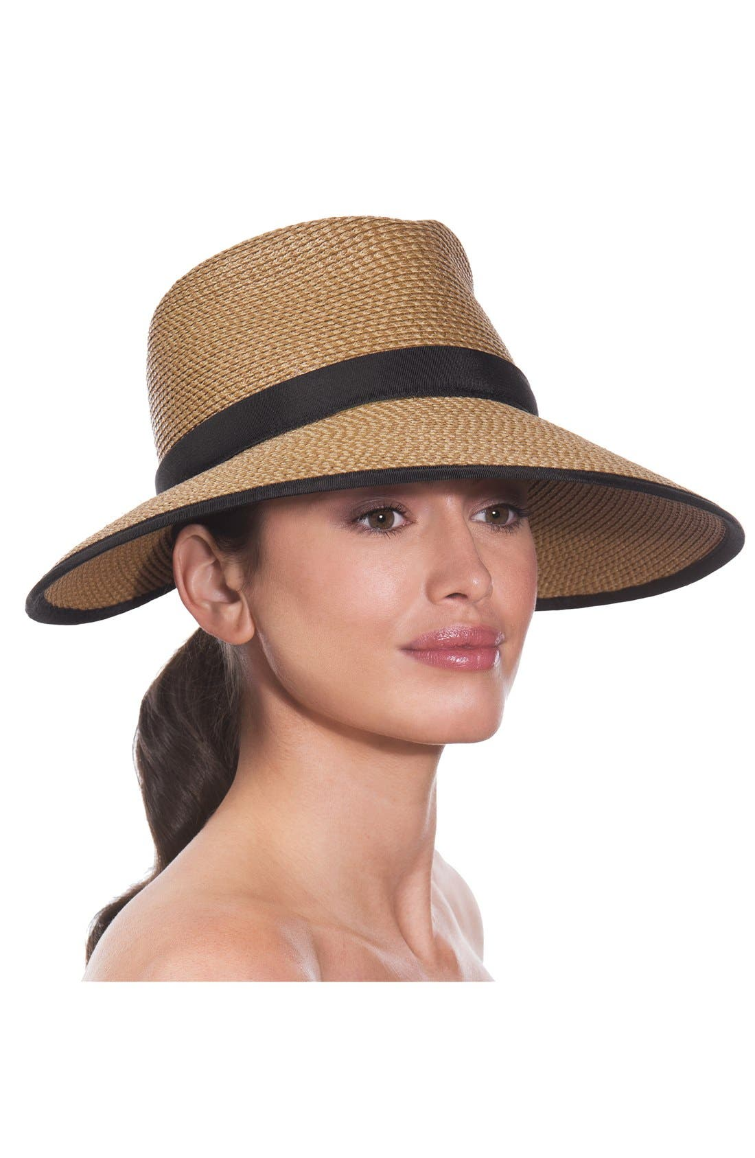 ERIC JAVITS, 'Sun Crest' Packable Hybrid Fedora Visor, Alternate thumbnail 2, color, NATURAL/ BLACK