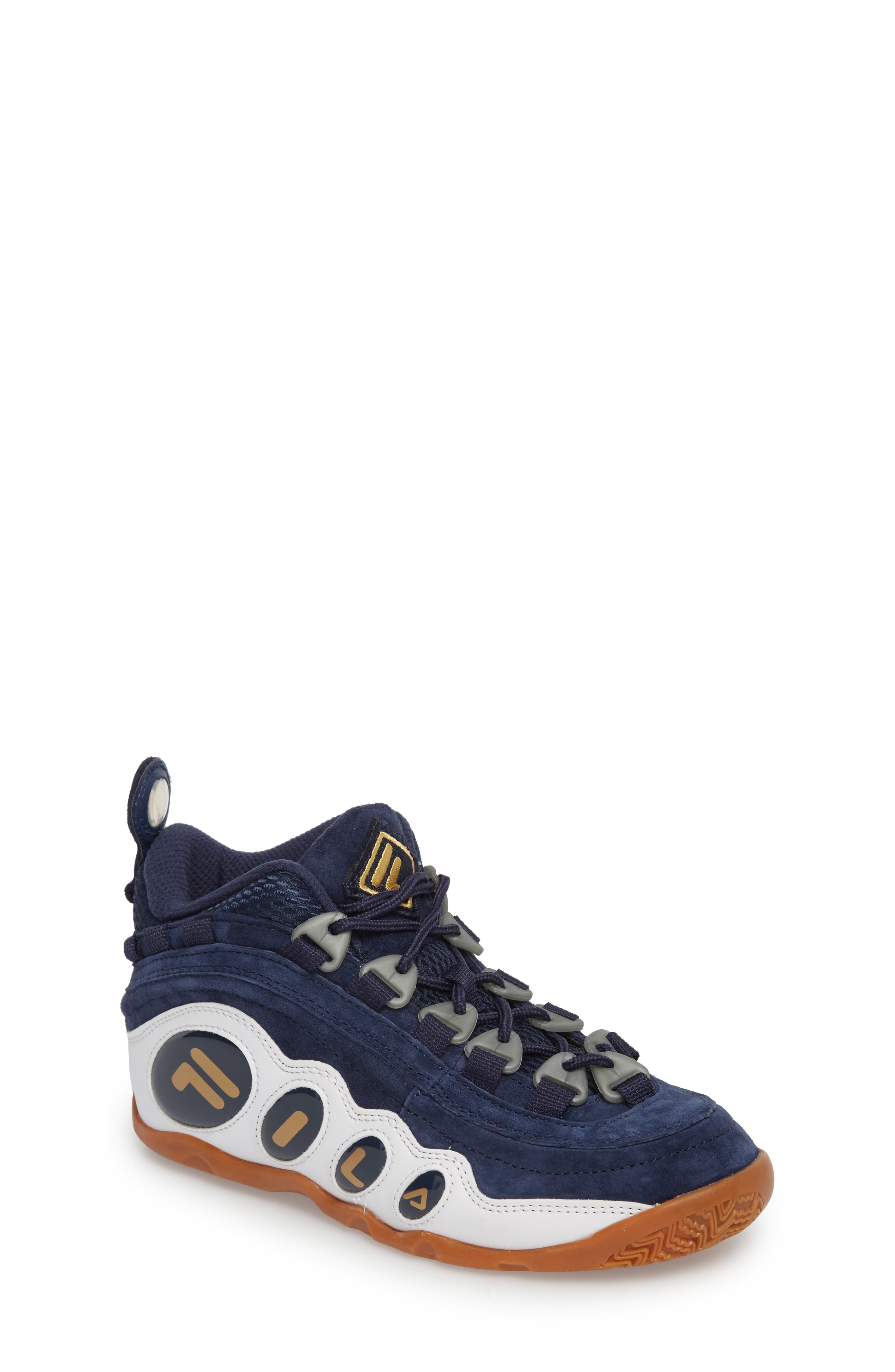 FILA, Bubbles Mid Top Sneaker Boot, Main thumbnail 1, color, NAVY/ GOLD/ WHITE