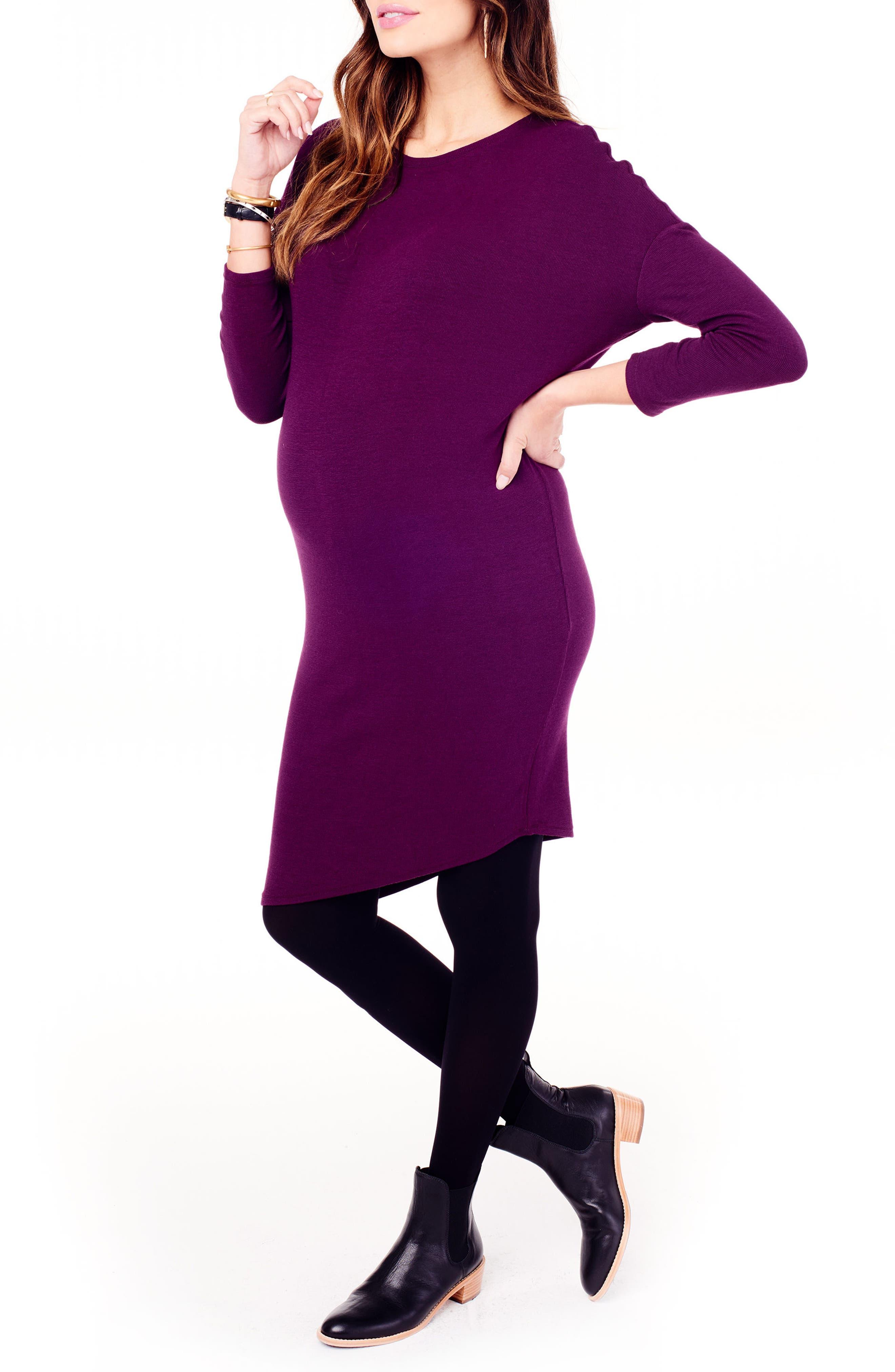 INGRID & ISABEL<SUP>®</SUP>, Asymmetrical Maternity Dress, Alternate thumbnail 3, color, PLUM
