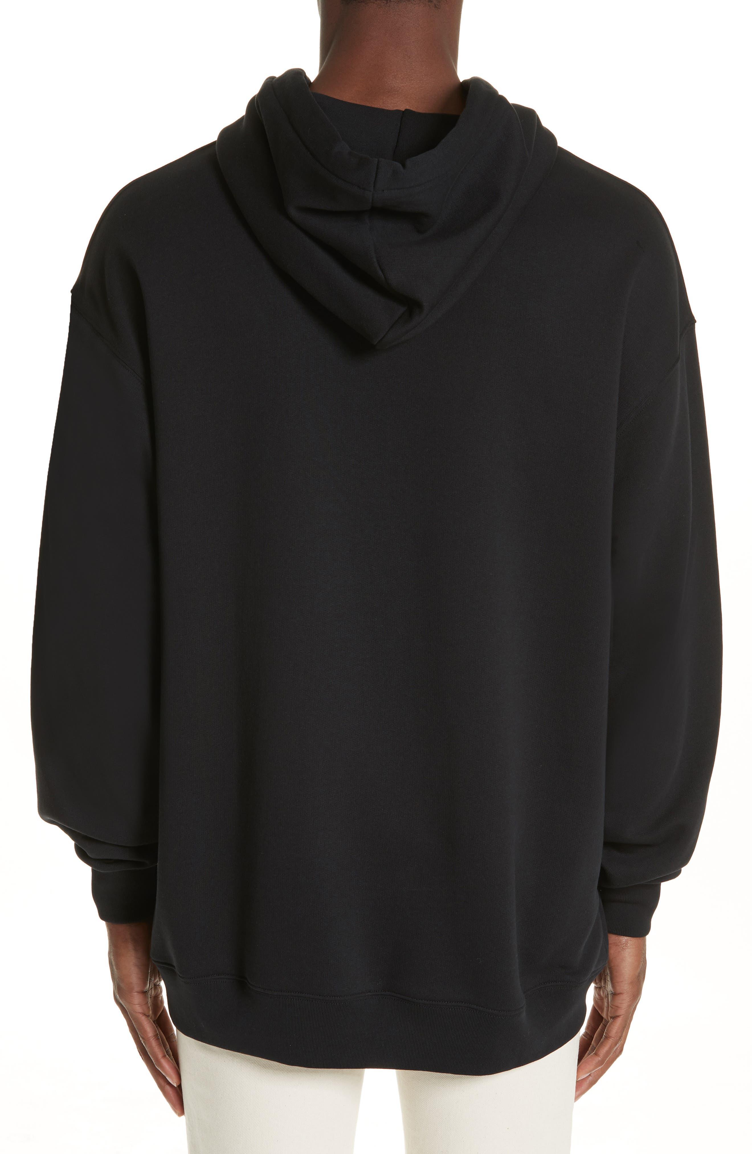 ACNE STUDIOS, Farrin Face Hooded Sweatshirt, Alternate thumbnail 2, color, BLACK