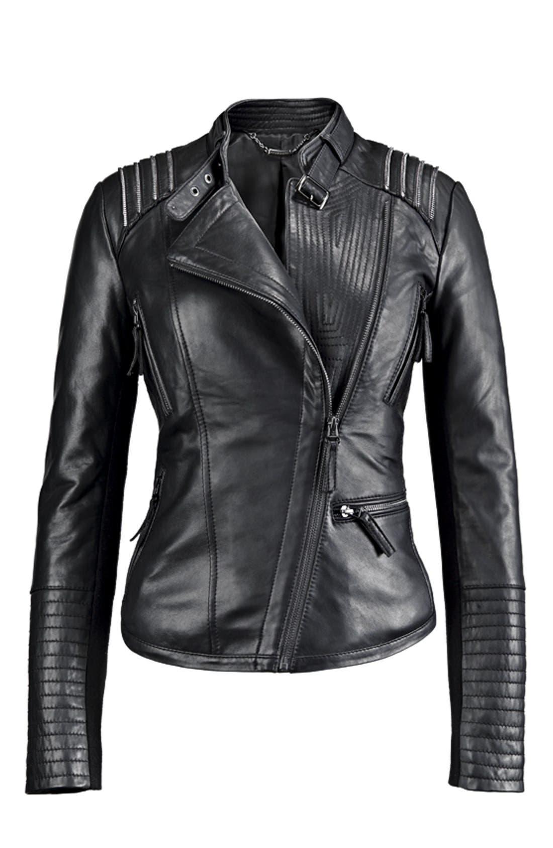 BERNARDO, Asymmetrical Leather Moto Jacket, Alternate thumbnail 4, color, 001