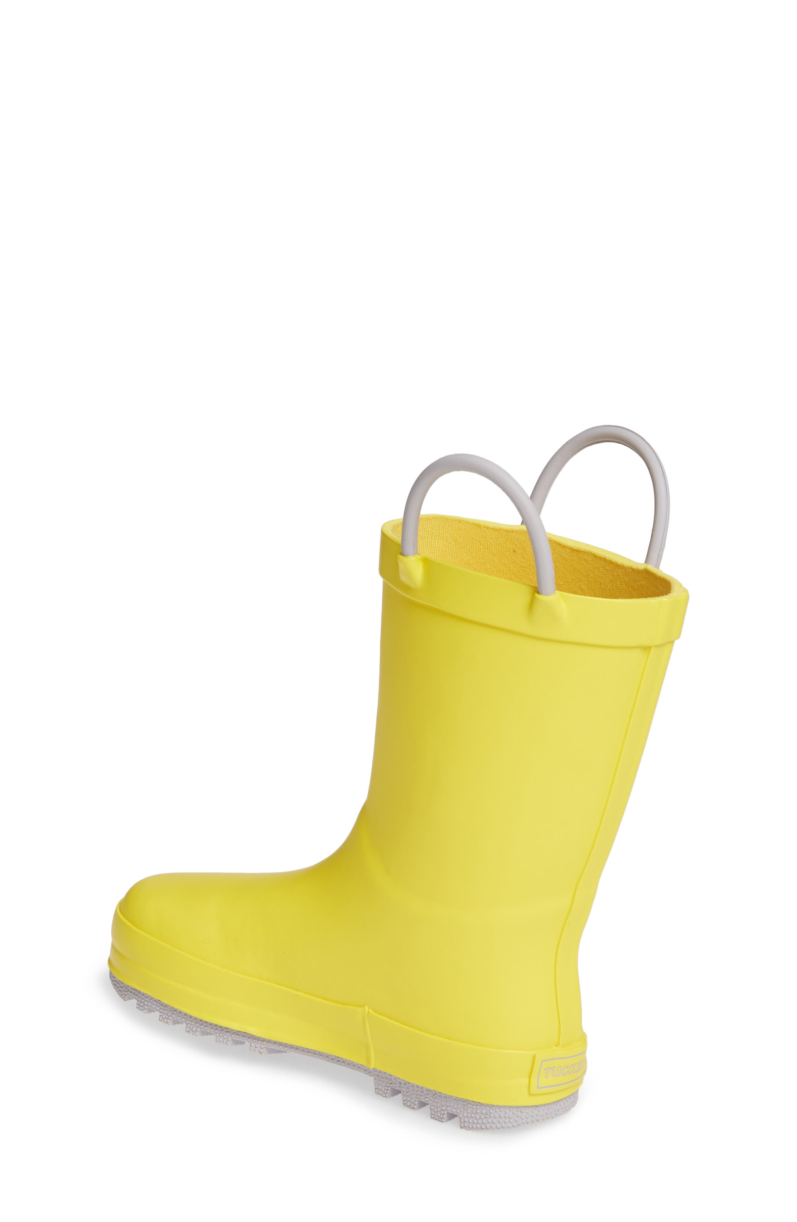 TUCKER + TATE, Puddle Rain Boot, Alternate thumbnail 2, color, YELLOW/ GREY RUBBER