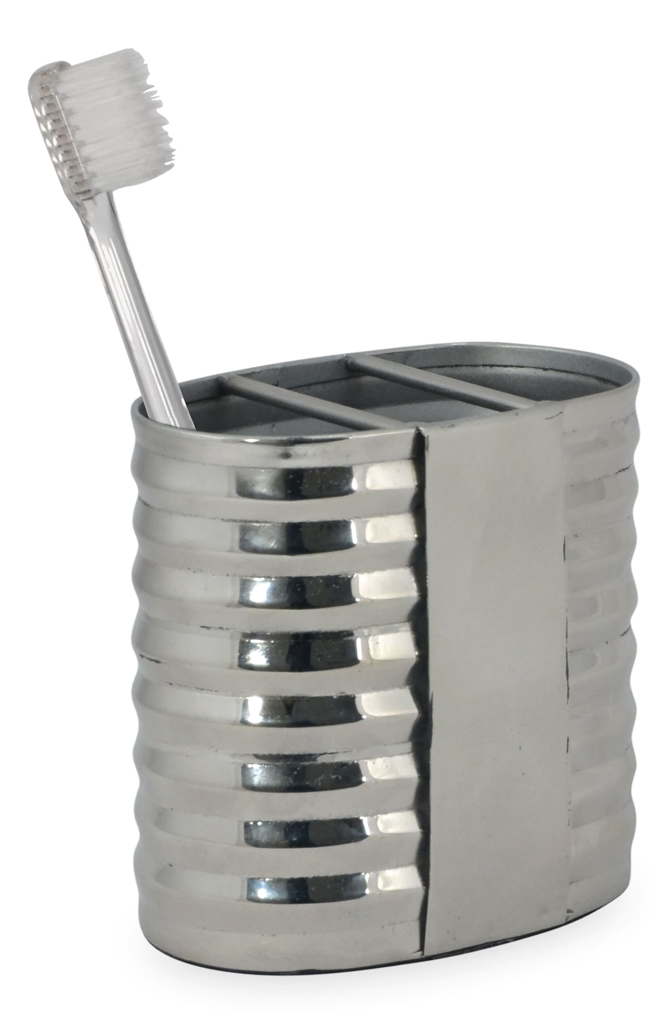 DKNY Corrugated Toothbrush Holder, Main, color, SILVER