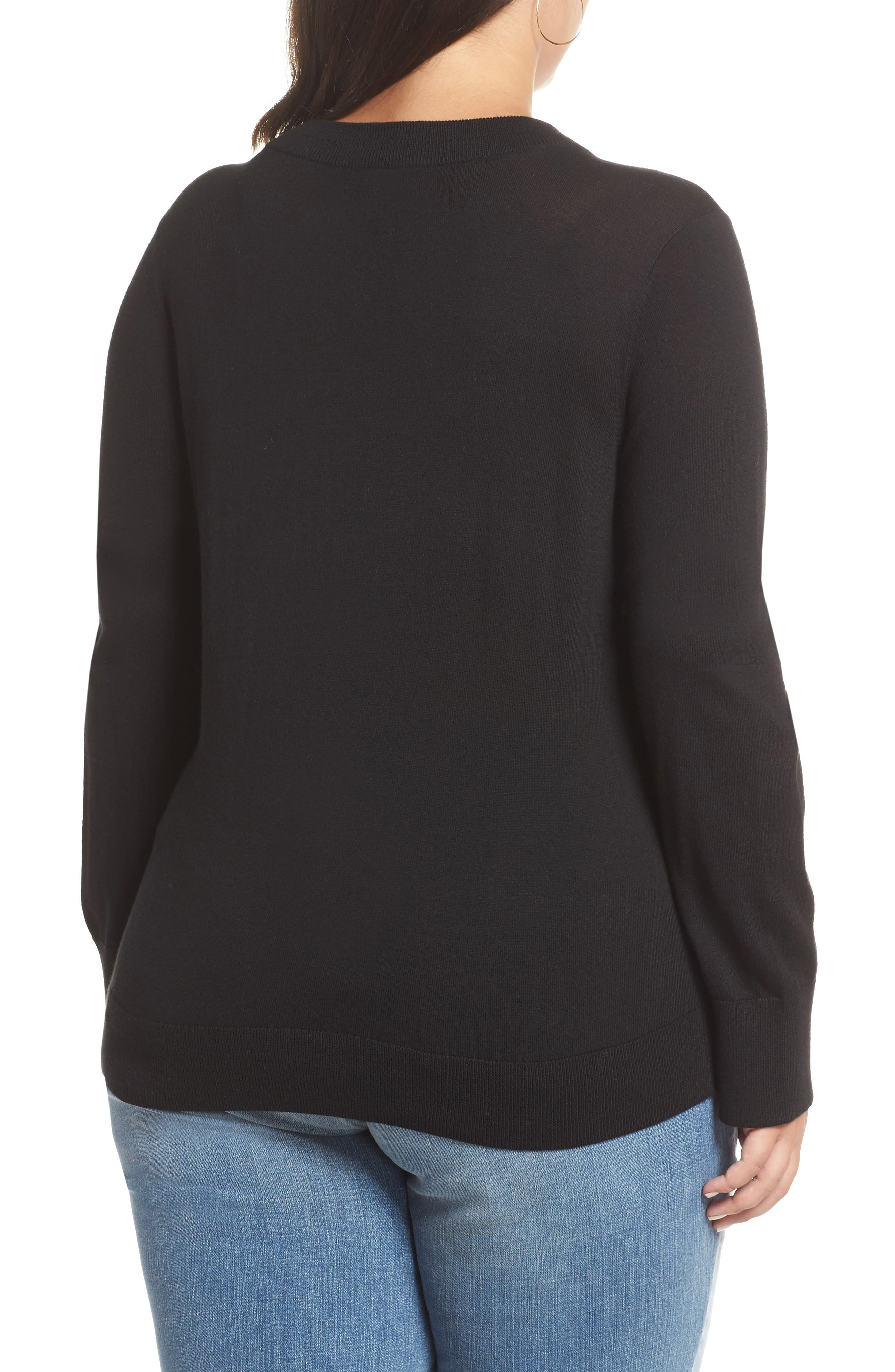 HALOGEN<SUP>®</SUP>, Delta Crewneck Sweater, Alternate thumbnail 2, color, BLACK