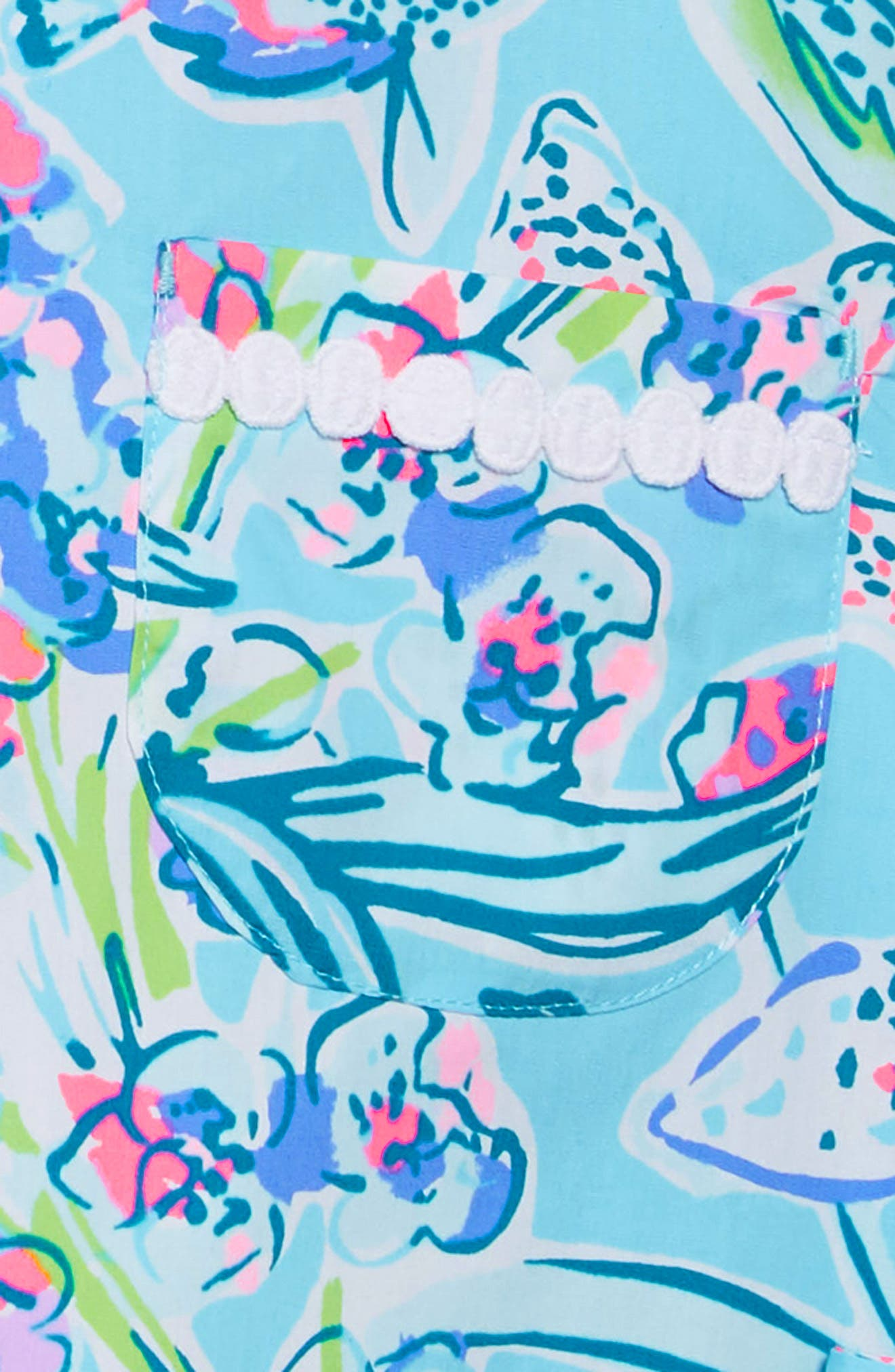 LILLY PULITZER<SUP>®</SUP>, Little Lilly Classic Shift Dress, Alternate thumbnail 3, color, BALI BLUE SWAY THIS WAY