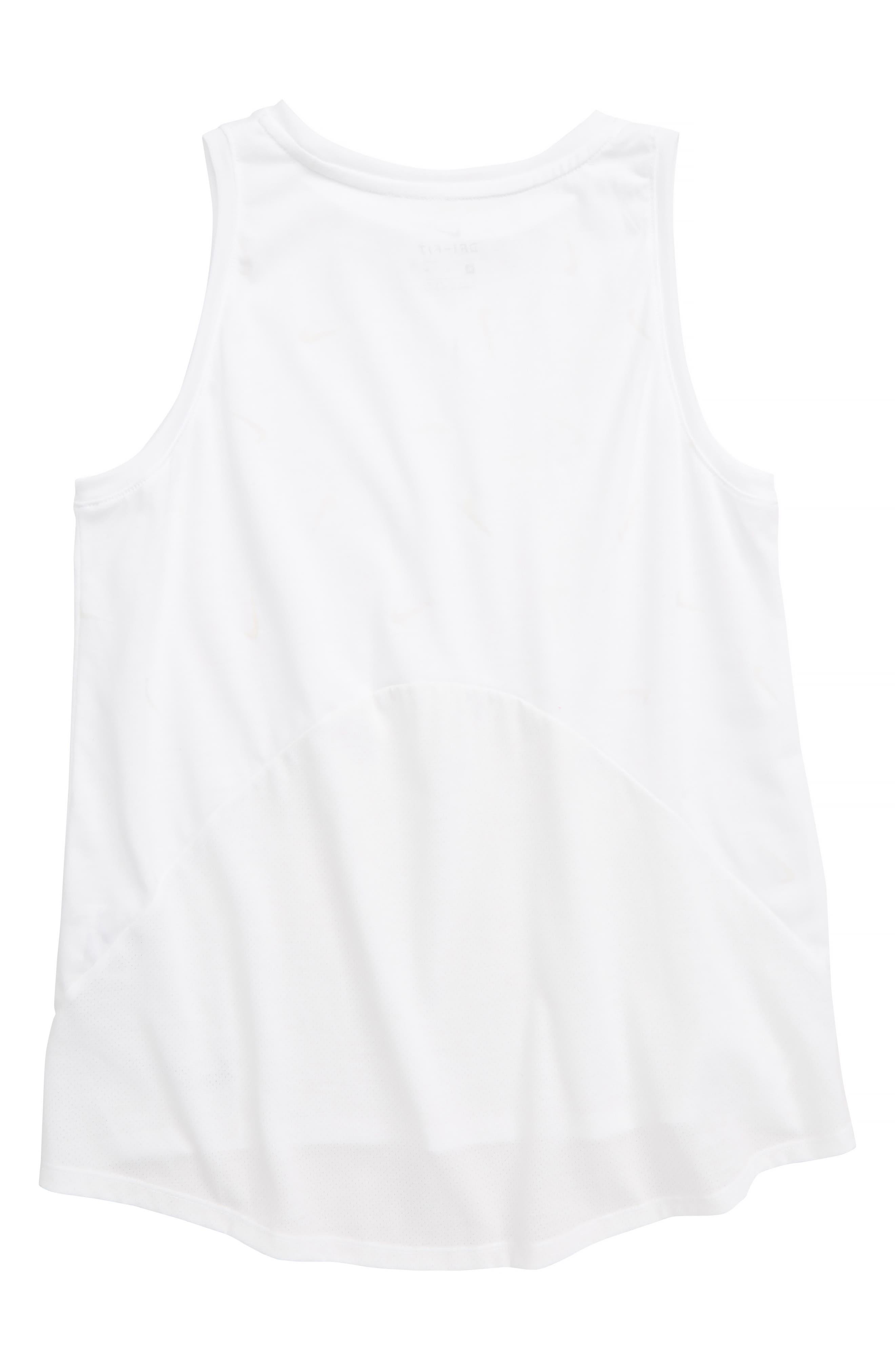 NIKE, Dri-FIT Breathe UV-Activated Logo Print Running Tank, Alternate thumbnail 4, color, WHITE/ REFLECTIVE SILV