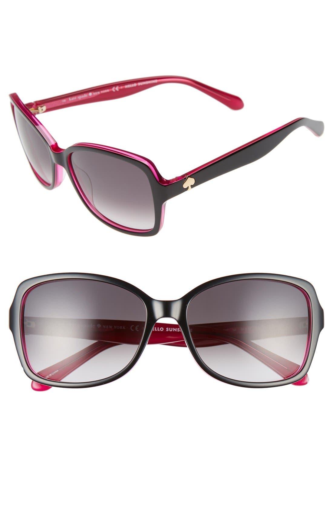 KATE SPADE NEW YORK, 'ayleens' 56mm sunglasses, Main thumbnail 1, color, BLACK/ PINK