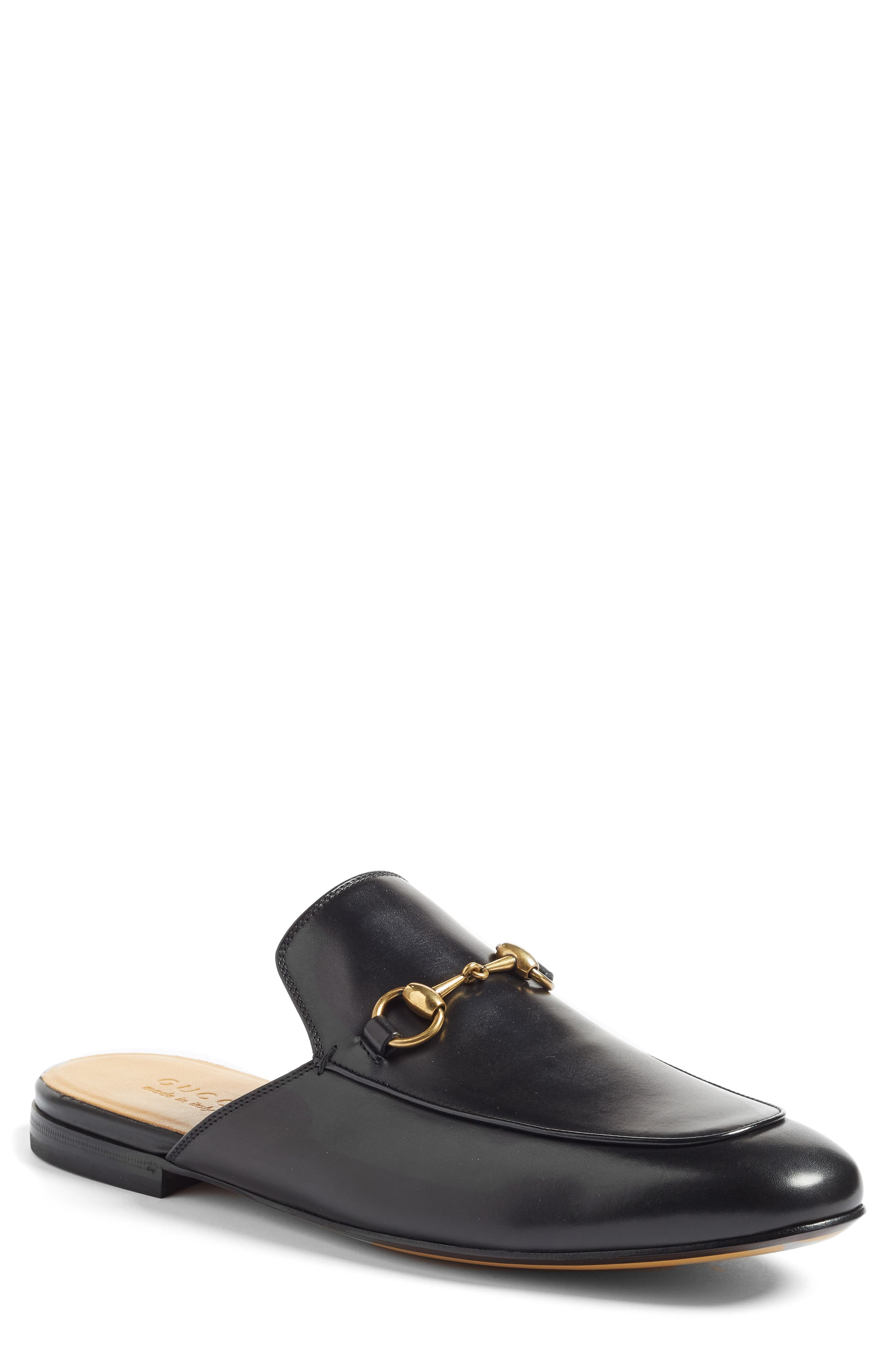 GUCCI, Straw Kings Slipper, Main thumbnail 1, color, NERO LEATHER