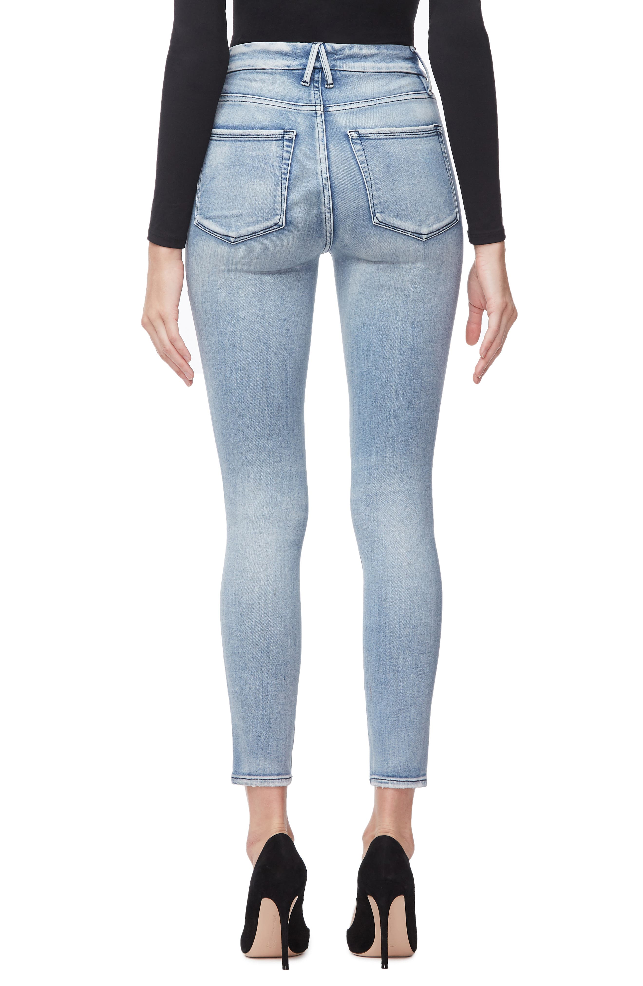 GOOD AMERICAN, Good Waist Ripped High Waist Crop Skinny Jeans, Alternate thumbnail 3, color, BLUE250