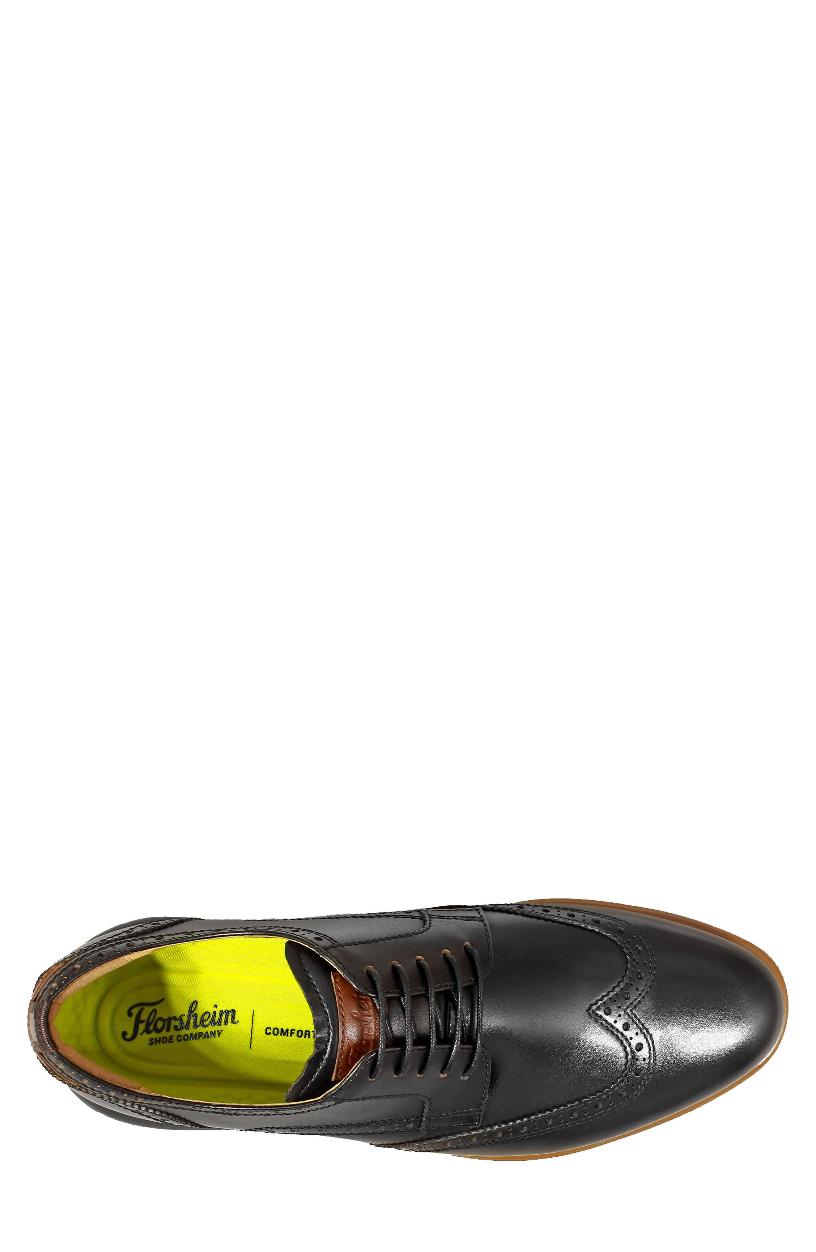 FLORSHEIM, Fuel Wingtip, Alternate thumbnail 5, color, BLACK LEATHER