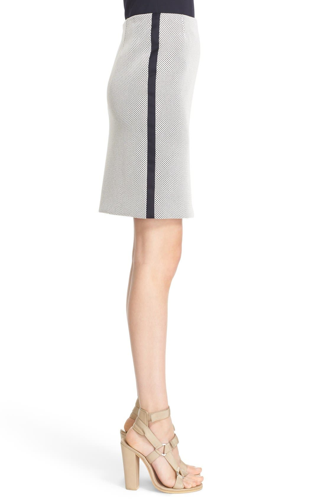 AKRIS PUNTO, Side Stripe Mesh Pencil Skirt, Alternate thumbnail 6, color, 900