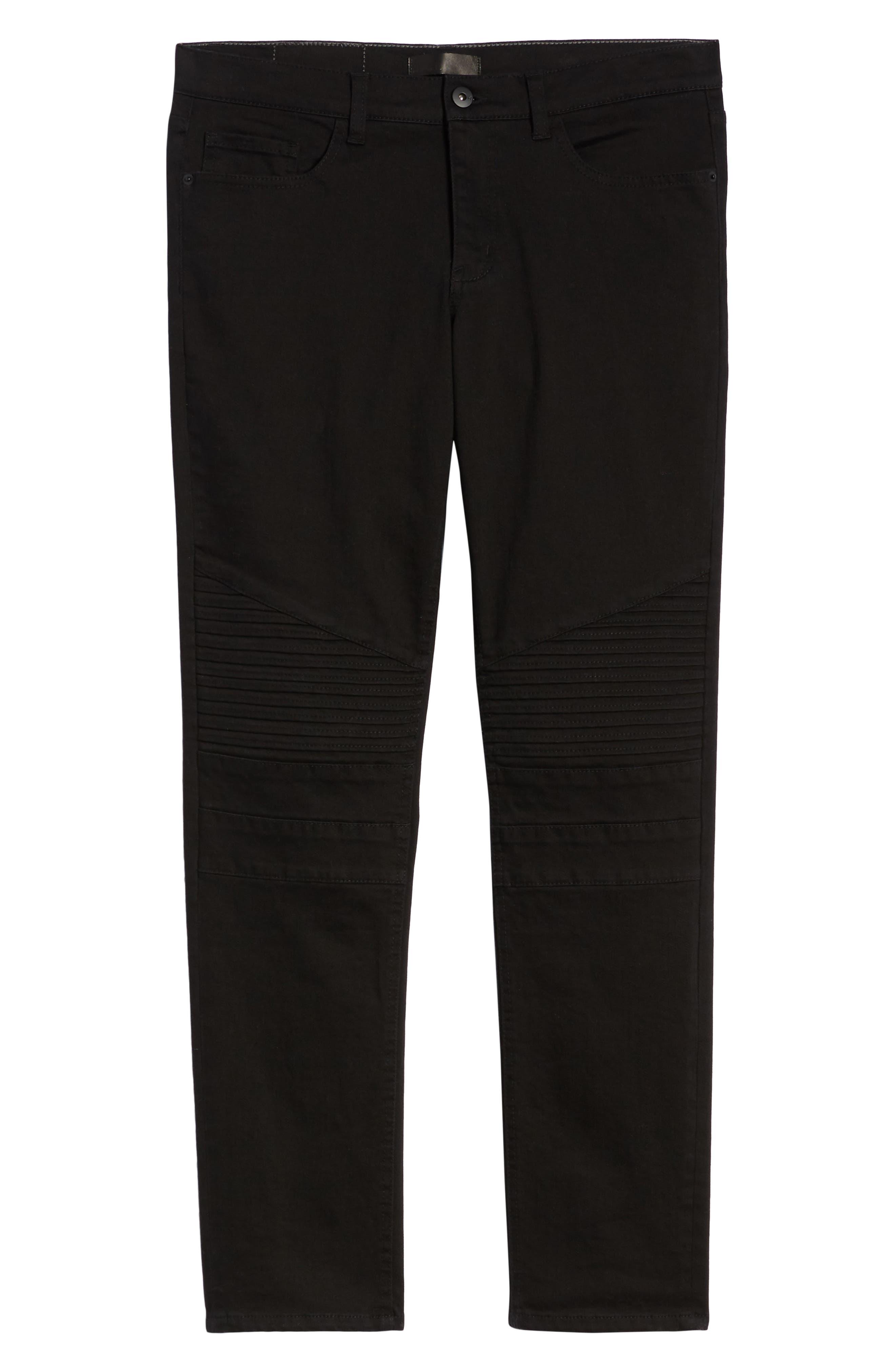 THE RAIL, Skinny Moto Jeans, Alternate thumbnail 7, color, BLACK WASH