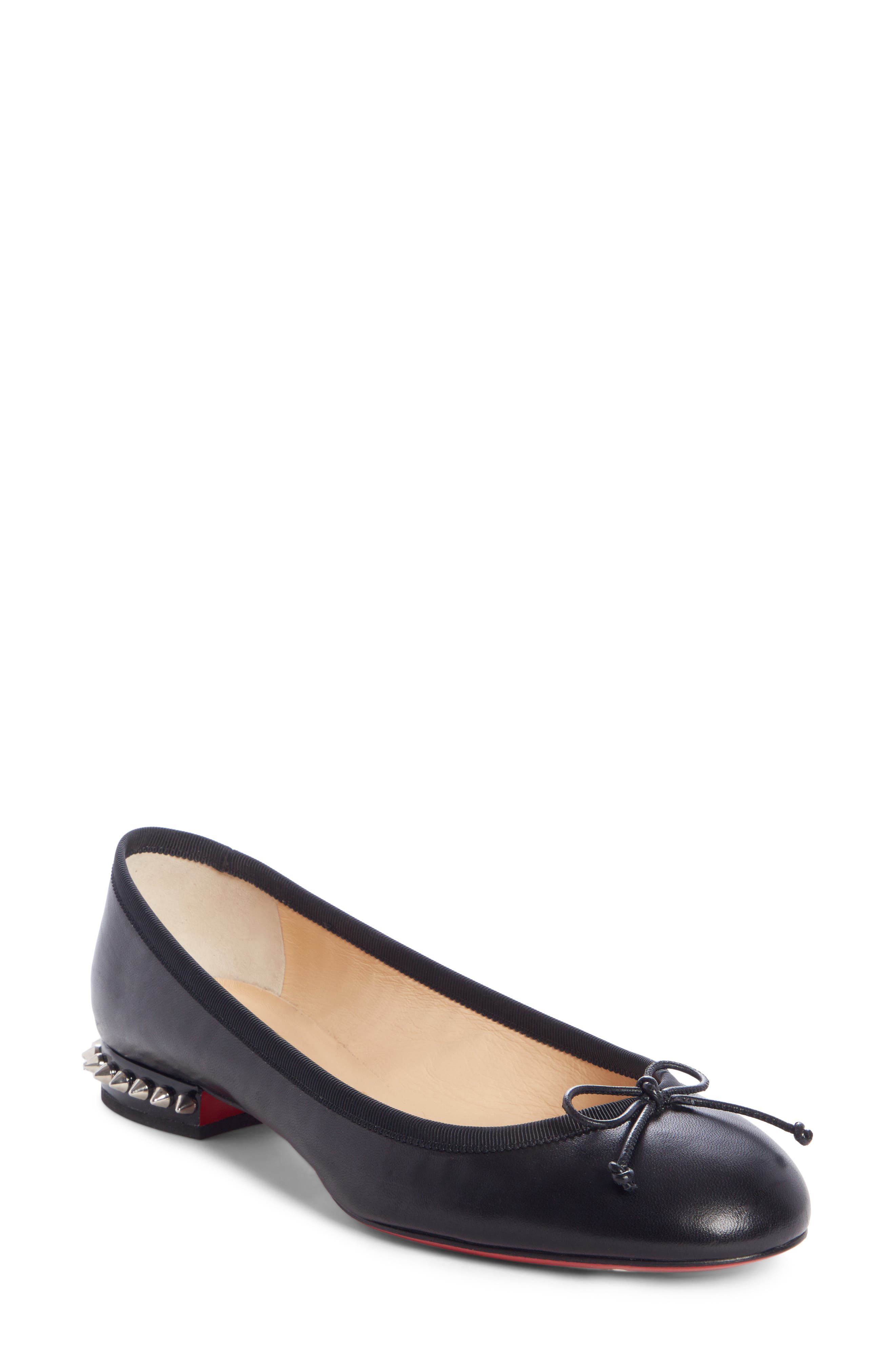 CHRISTIAN LOUBOUTIN, La Massine Spike Flat, Main thumbnail 1, color, BLACK