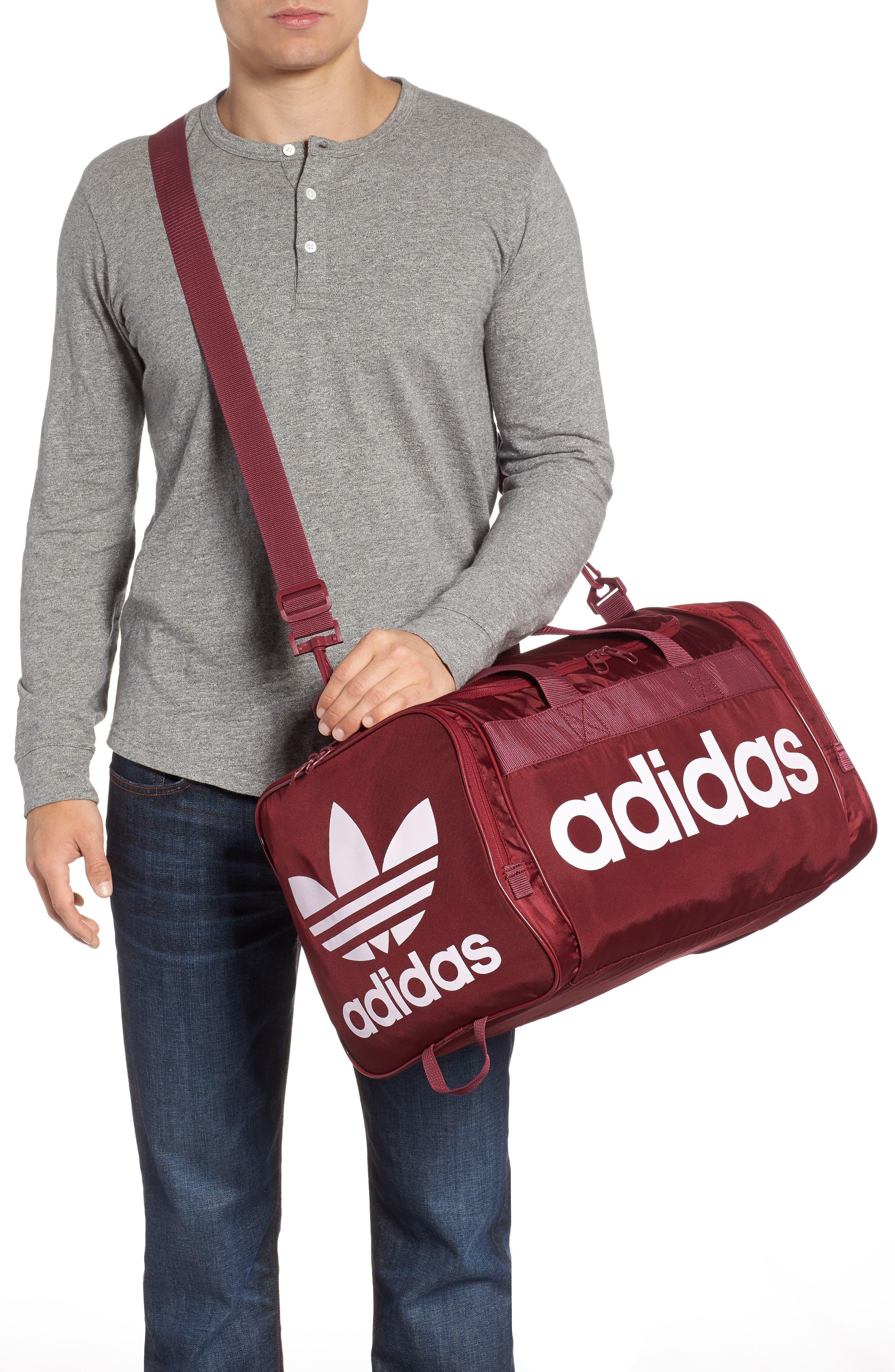 ADIDAS ORIGINALS, adidas Original Santiago Duffle Bag, Alternate thumbnail 2, color, COLLEGIATE BURGUNDY/ WHITE