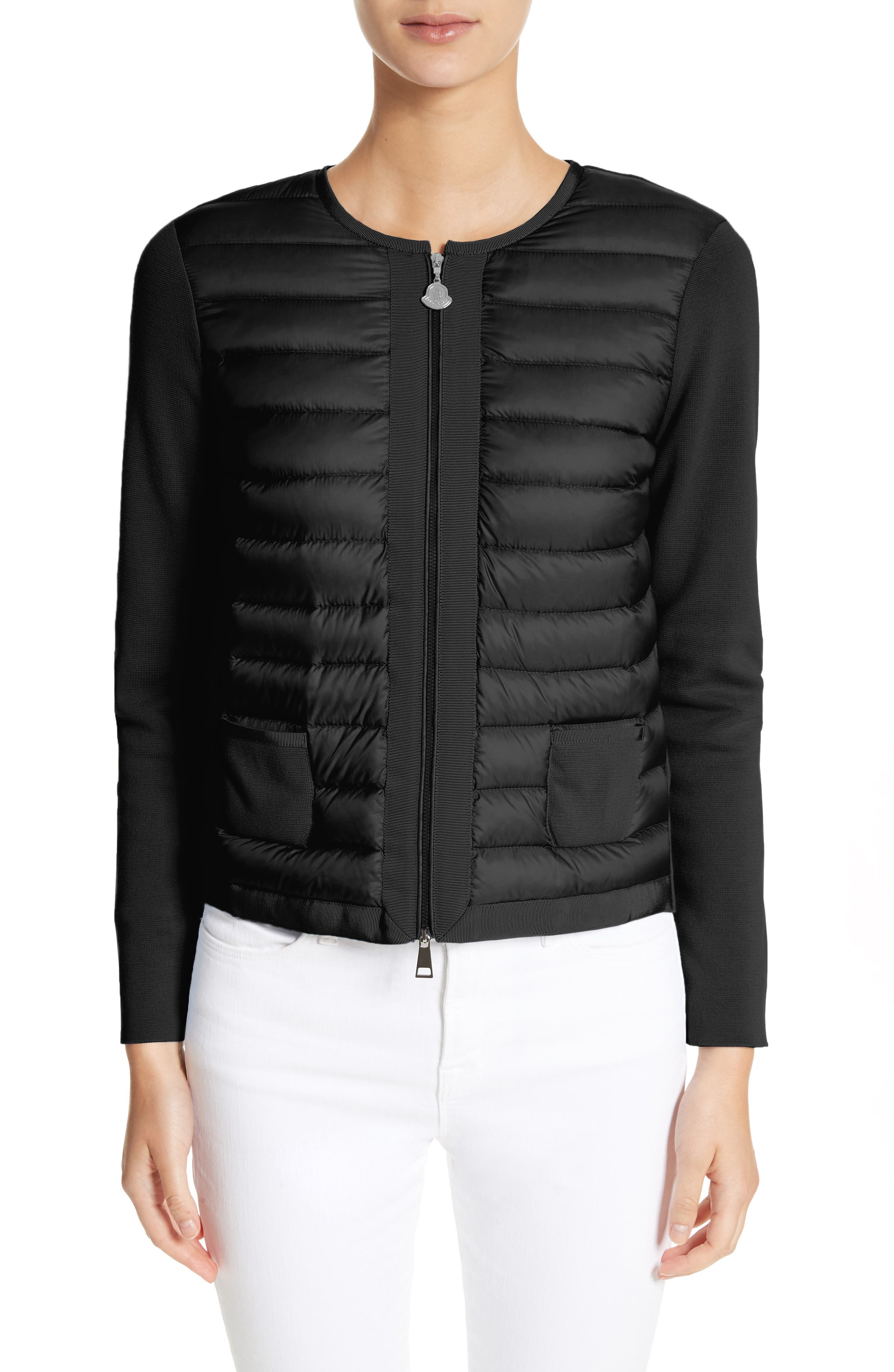 MONCLER Maglia Quilted Down Front Tricot Cardigan, Main, color, 001
