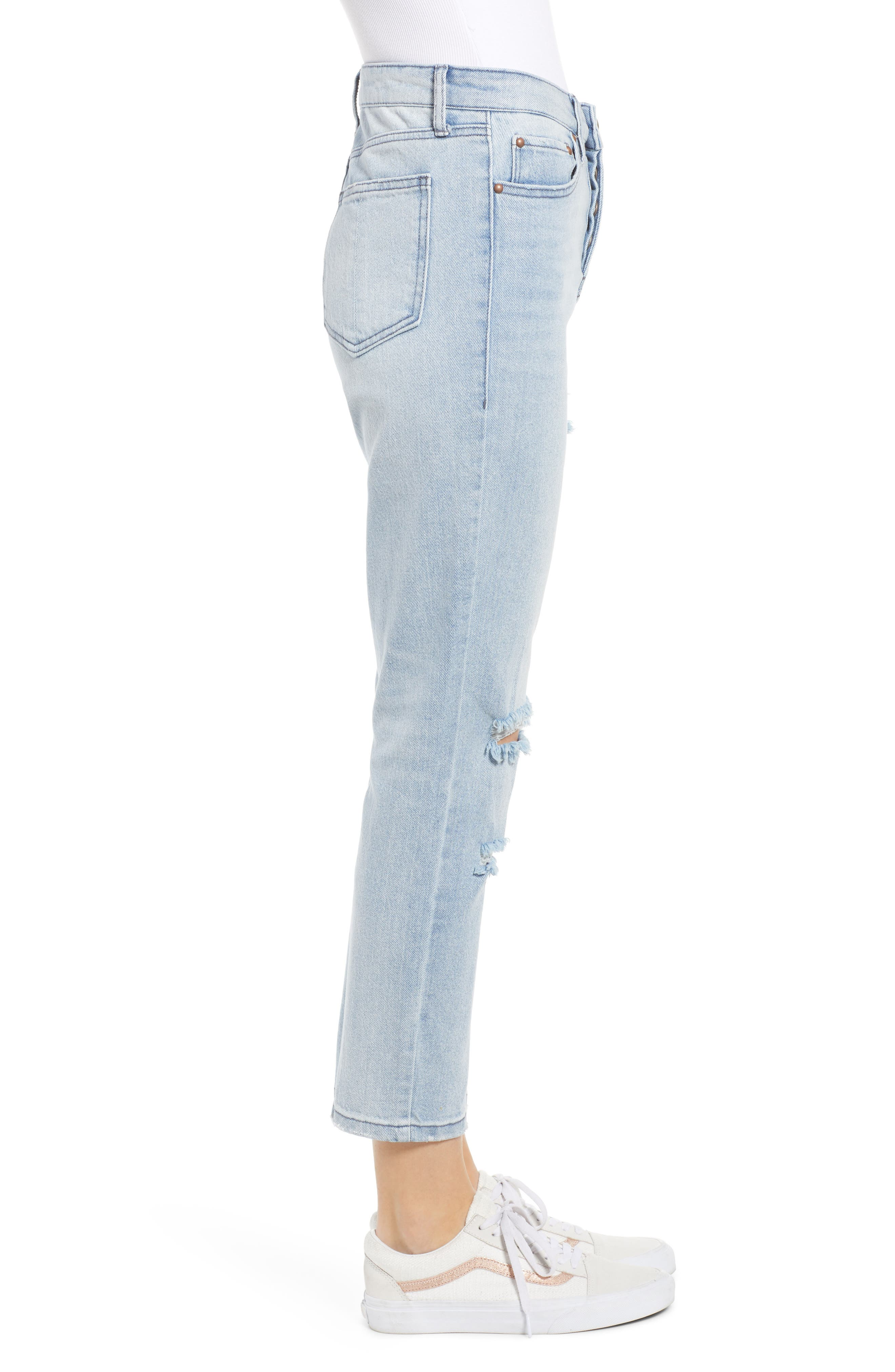 PROSPERITY DENIM, Ripped Ankle Straight Leg Jeans, Alternate thumbnail 4, color, LIGHT WASH