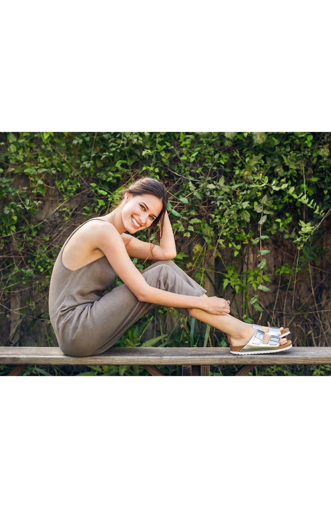BIRKENSTOCK, Arizona Soft Footbed Sandal, Alternate thumbnail 9, color, BLACK/ BLACK
