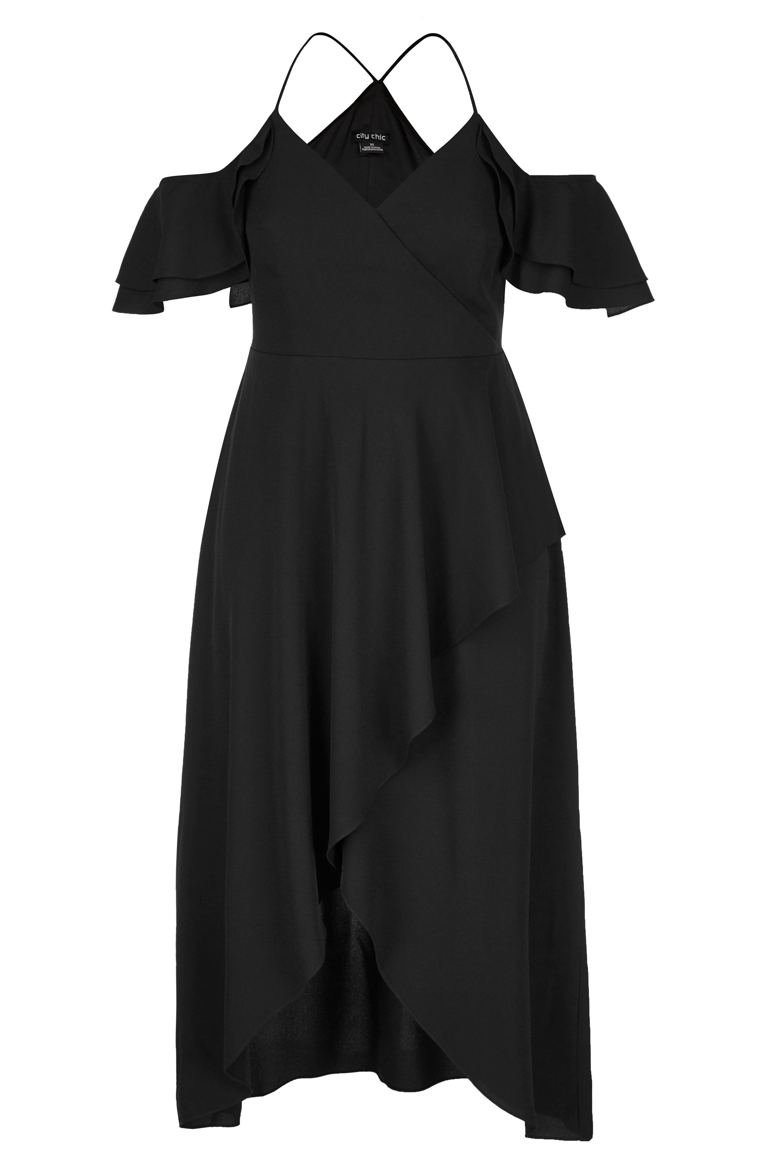 CITY CHIC, Miss Jessica Maxi Dress, Alternate thumbnail 3, color, BLACK