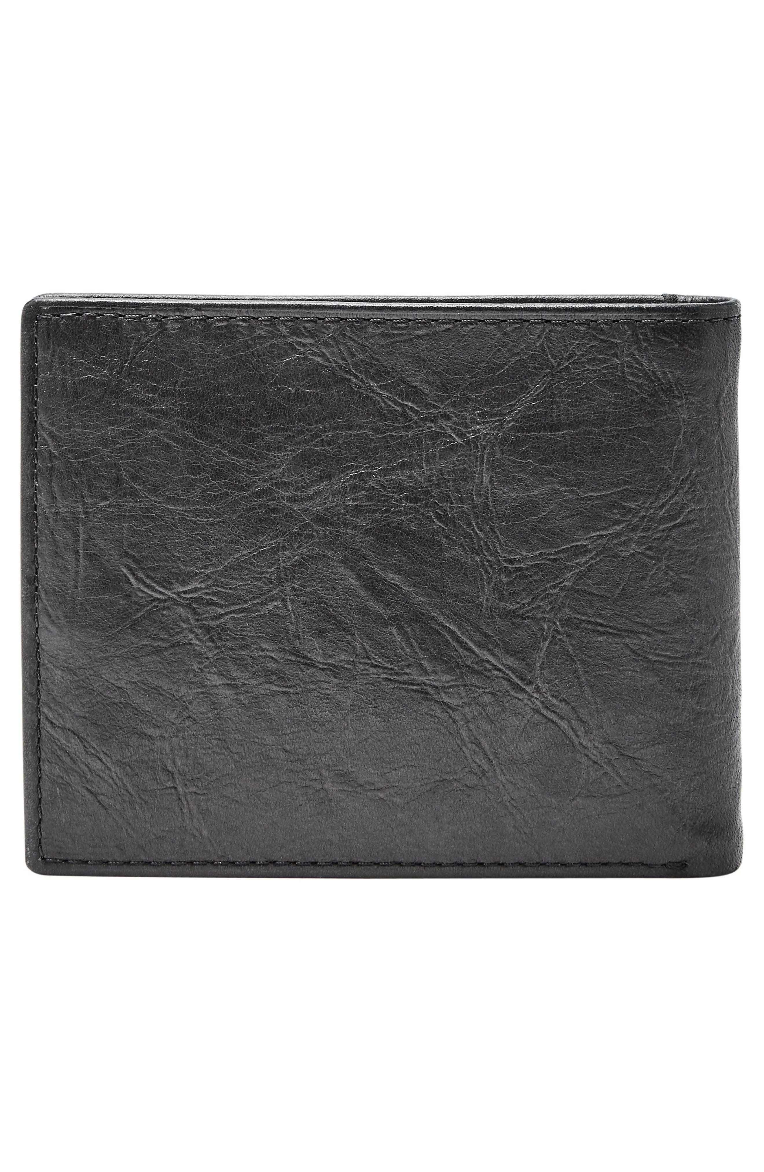 FOSSIL, Leather Wallet, Alternate thumbnail 4, color, BLACK