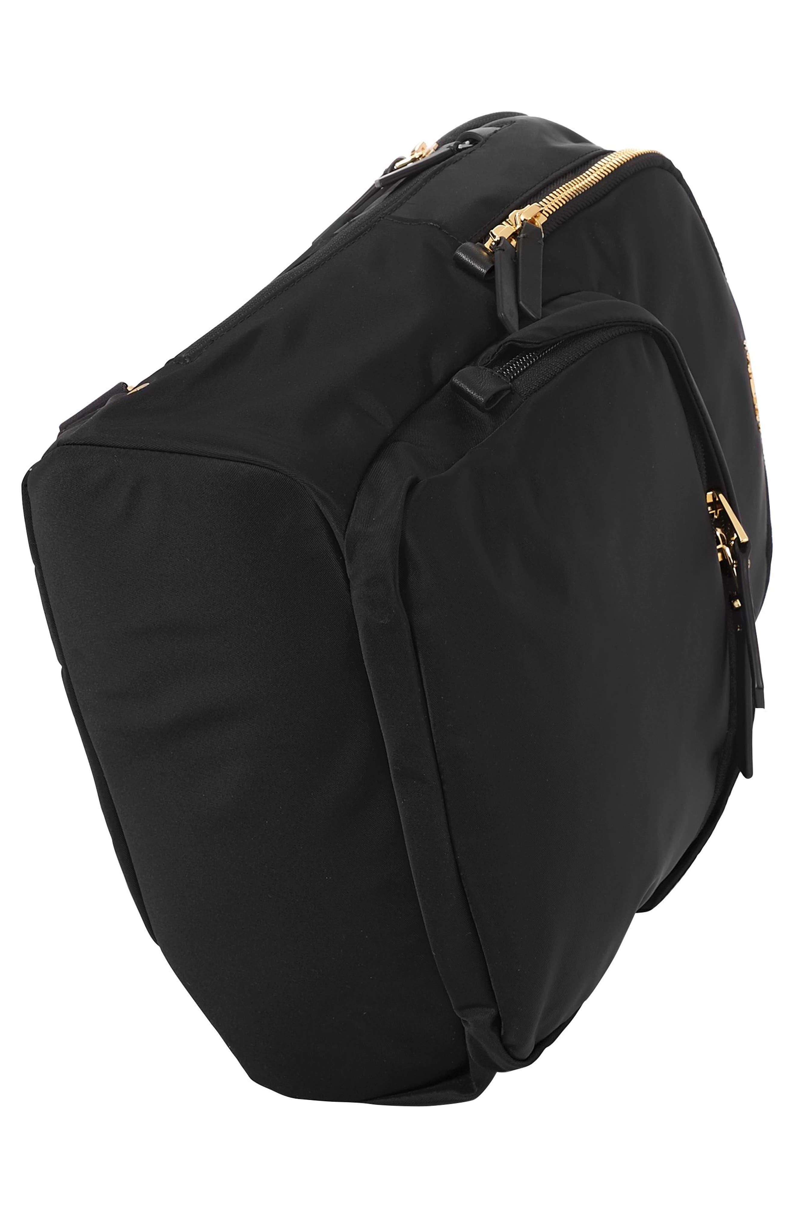 TUMI, Voyageur Dori Nylon Backpack, Alternate thumbnail 5, color, BLACK