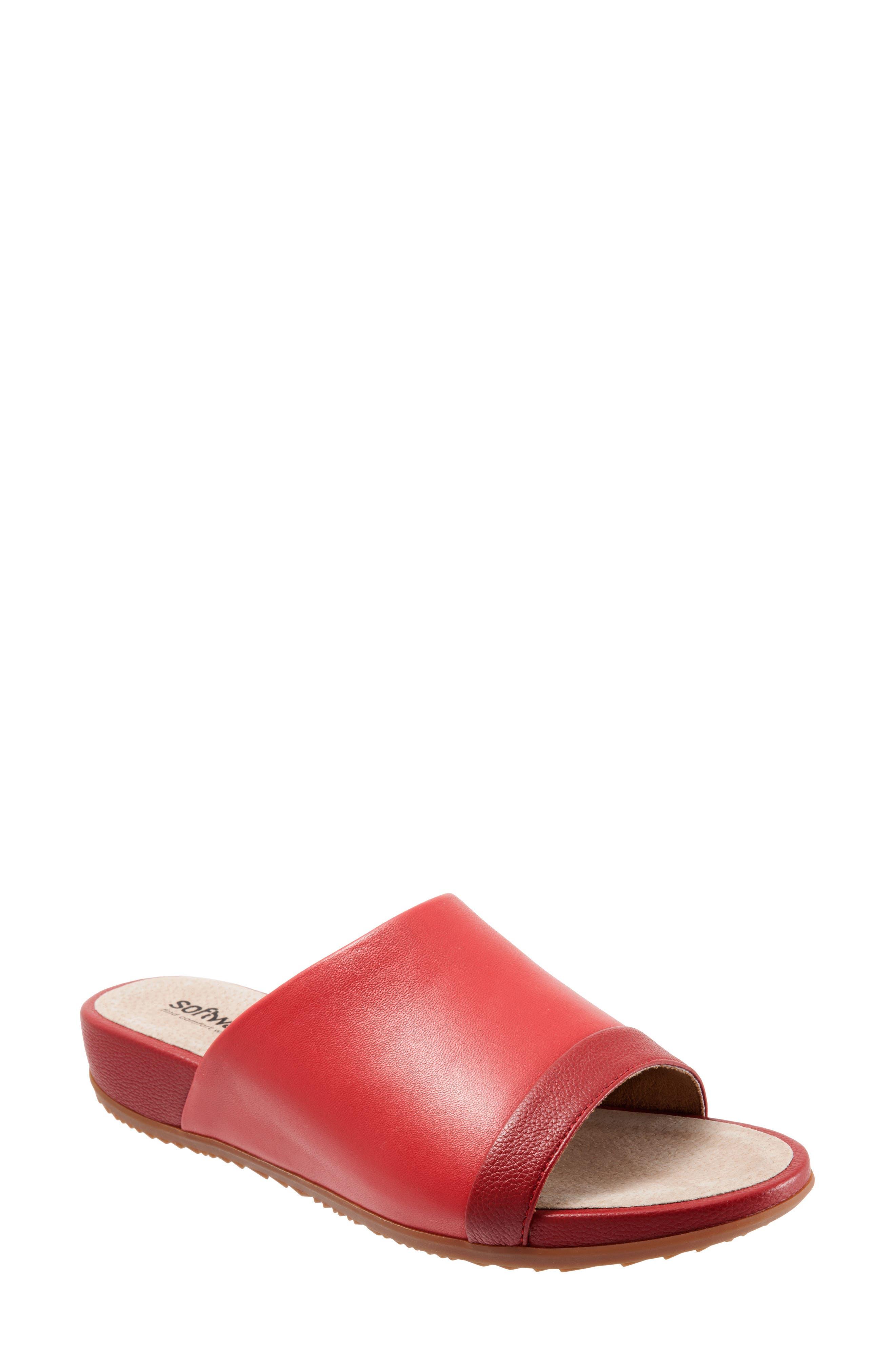 SOFTWALK<SUP>®</SUP>, Del Mar Slide Sandal, Main thumbnail 1, color, RED LEATHER