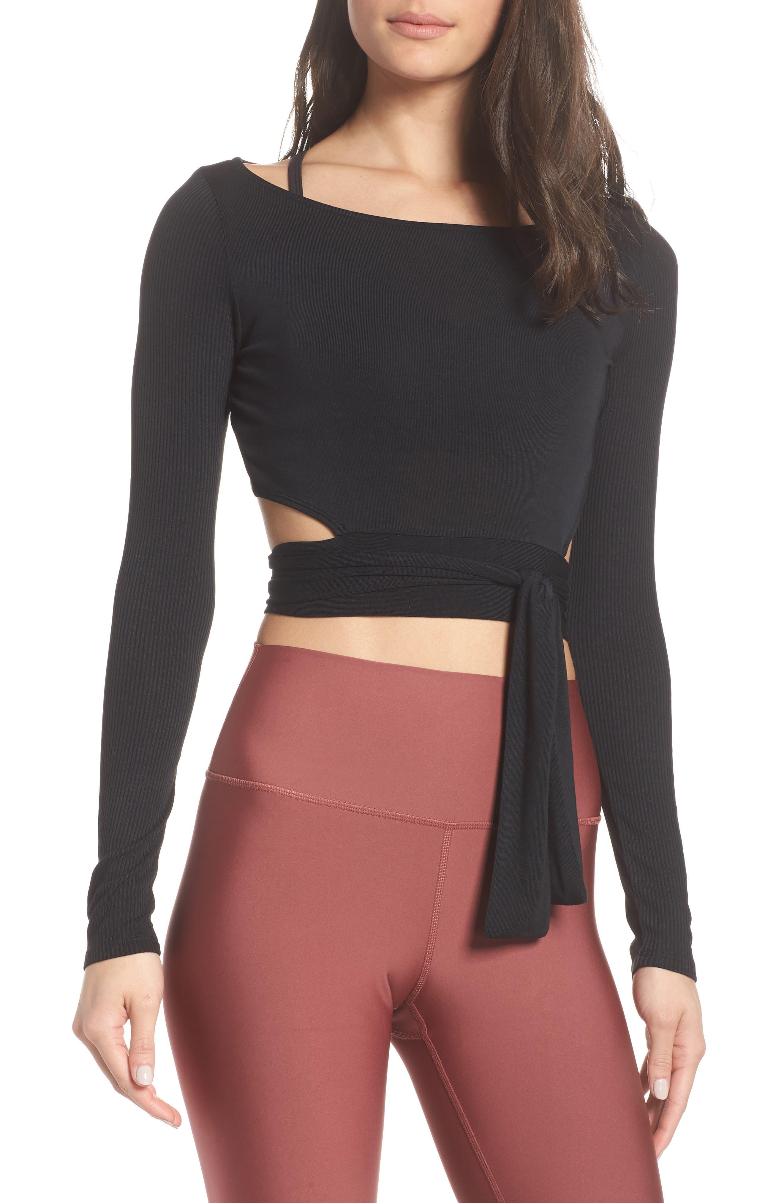 ALO Barre Long Sleeve Top, Main, color, BLACK