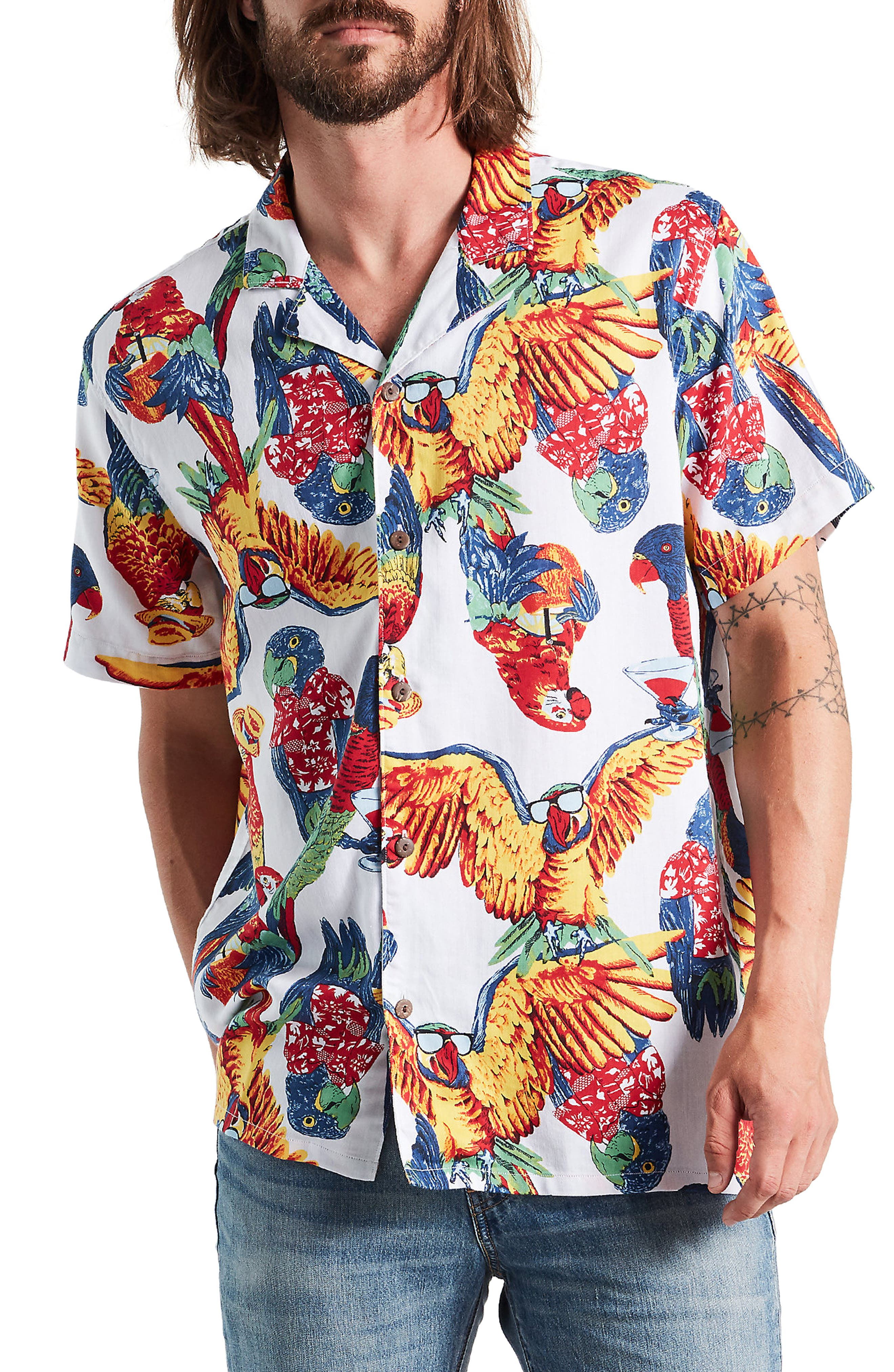 LEVI'S<SUP>®</SUP> Cubano Print Camp Shirt, Main, color, PARROT WHITE