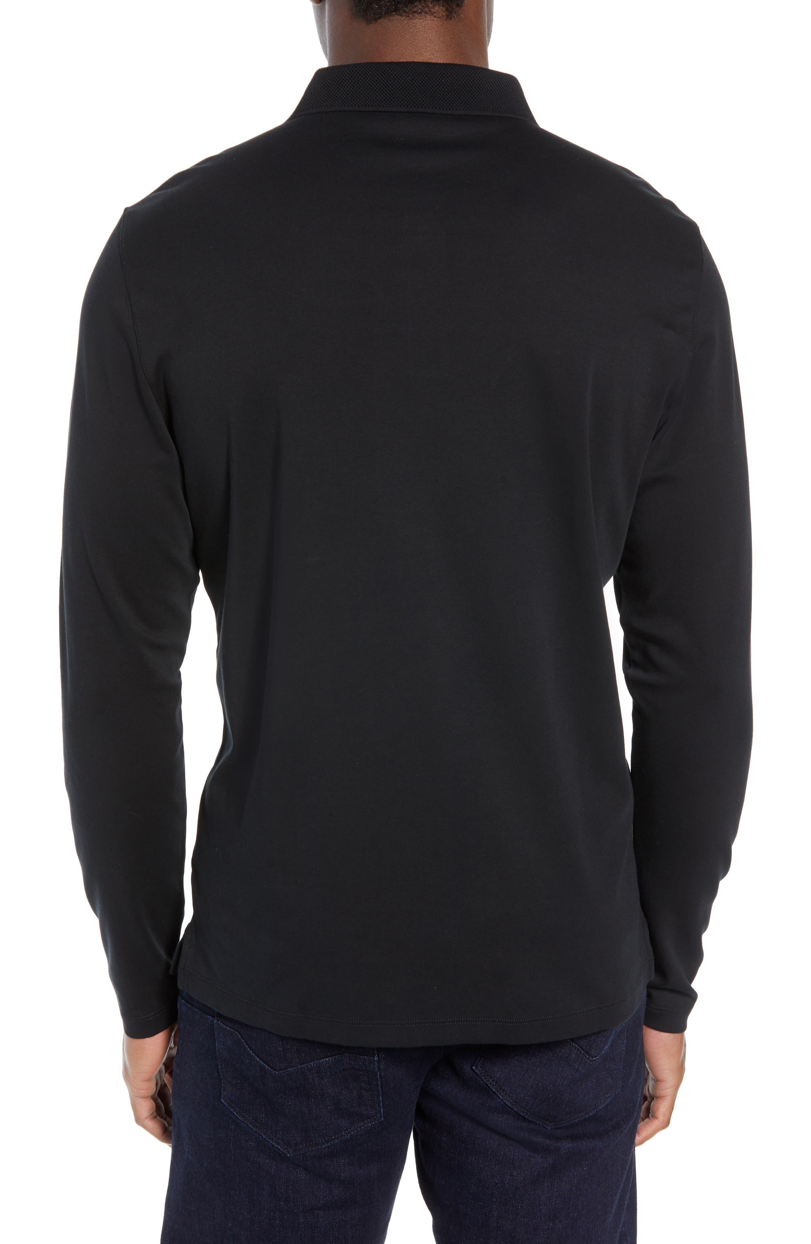 ROBERT BARAKETT, Batiste Long Sleeve Polo, Alternate thumbnail 2, color, BLACK