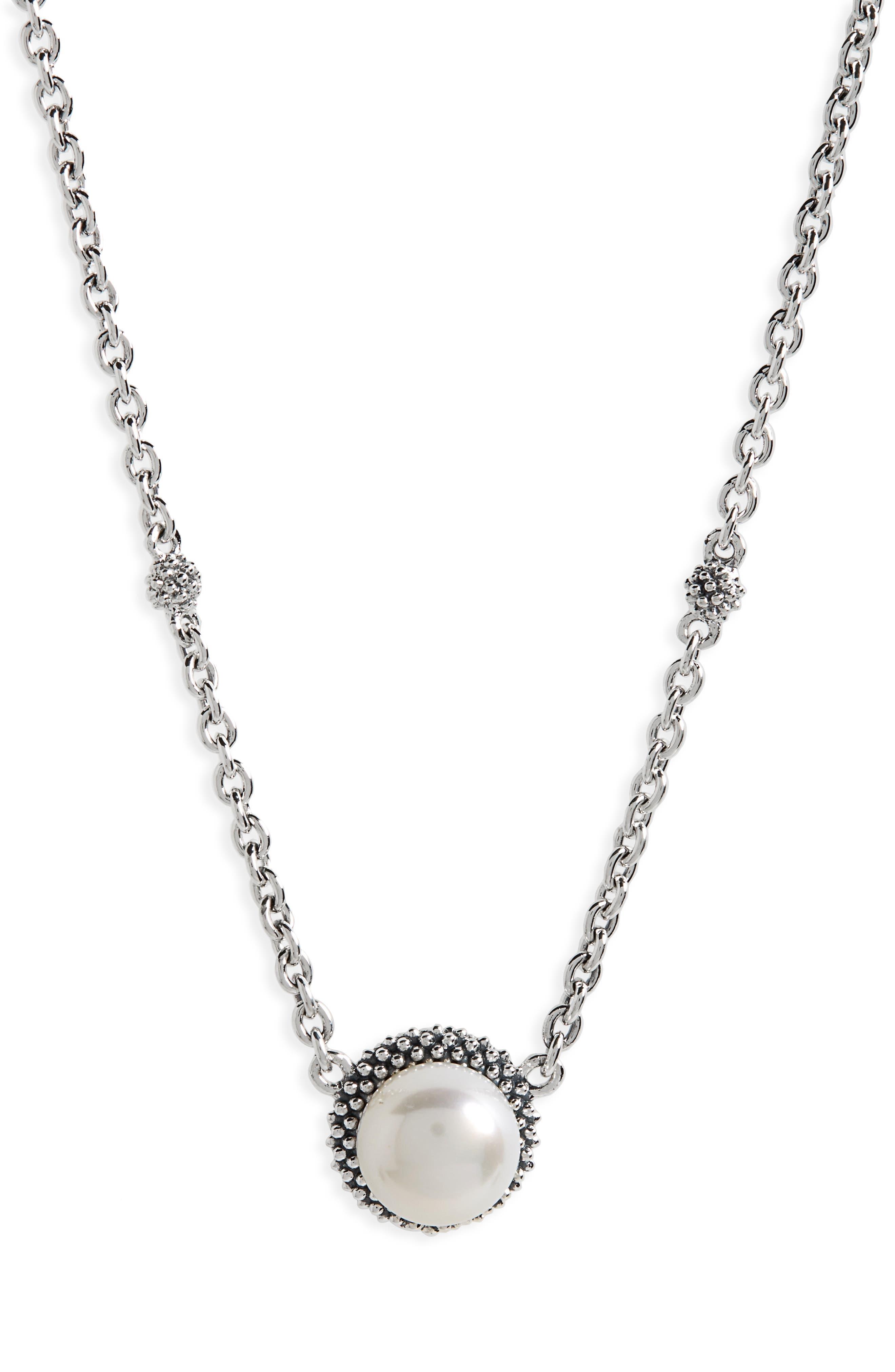 LAGOS, 'Luna' Pearl Pendant Necklace, Main thumbnail 1, color, SILVER/ PEARL