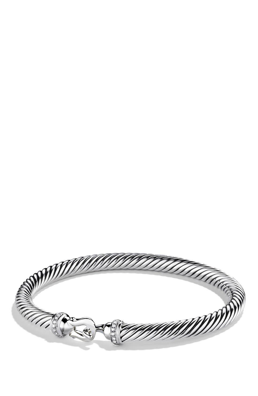 DAVID YURMAN, Cable Buckle Bracelet with Diamonds, 5mm, Main thumbnail 1, color, DIAMOND
