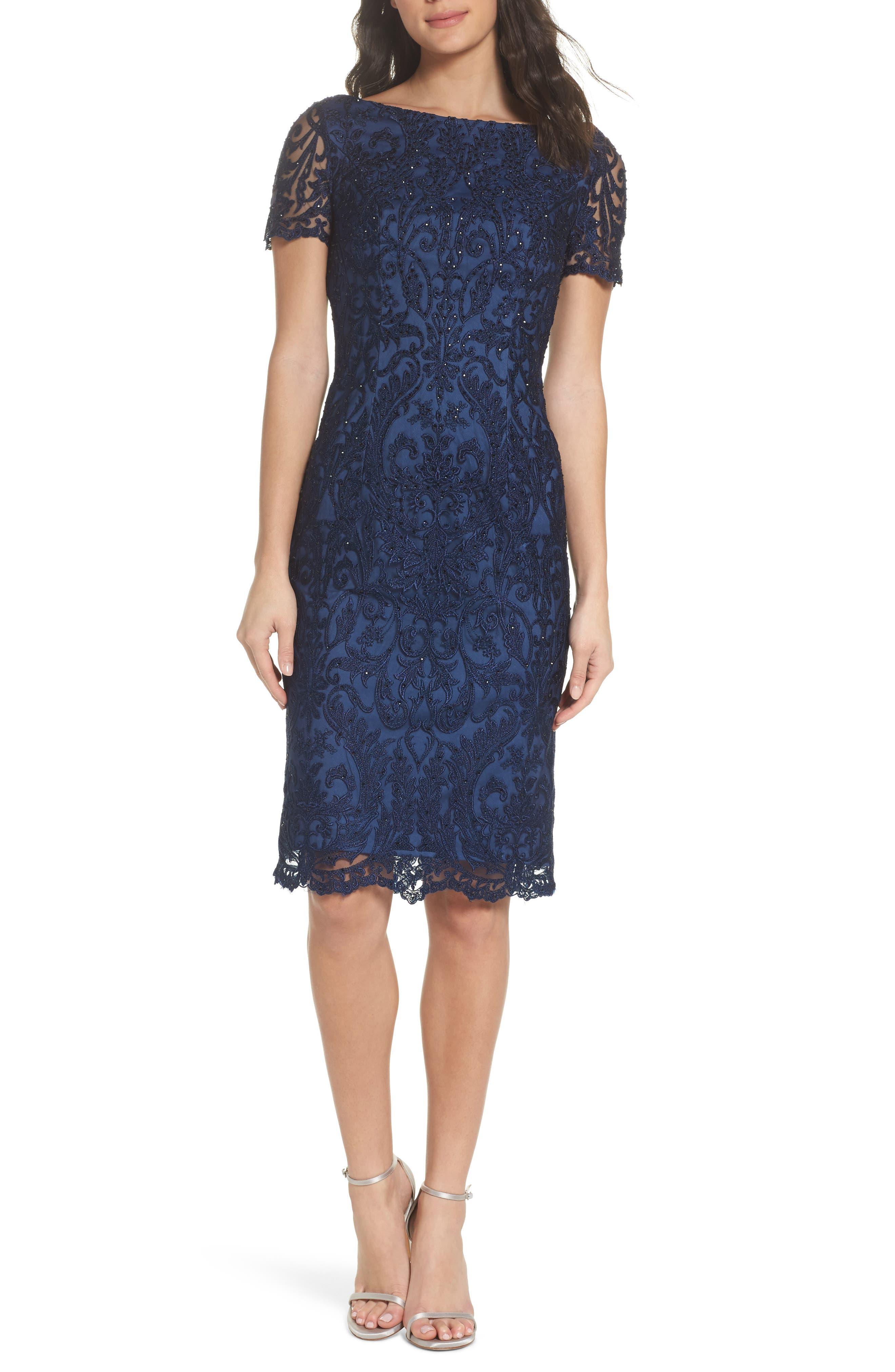 LA FEMME, Beaded Lace Sheath Dress, Main thumbnail 1, color, SLATE BLUE
